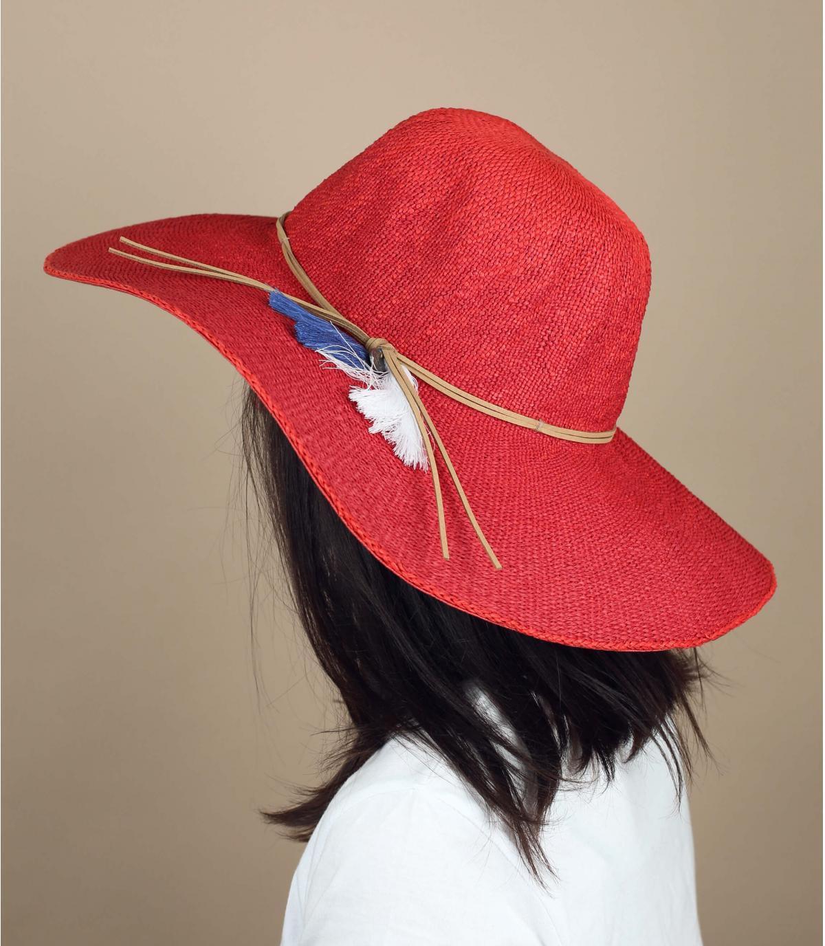 capeline paille rouge