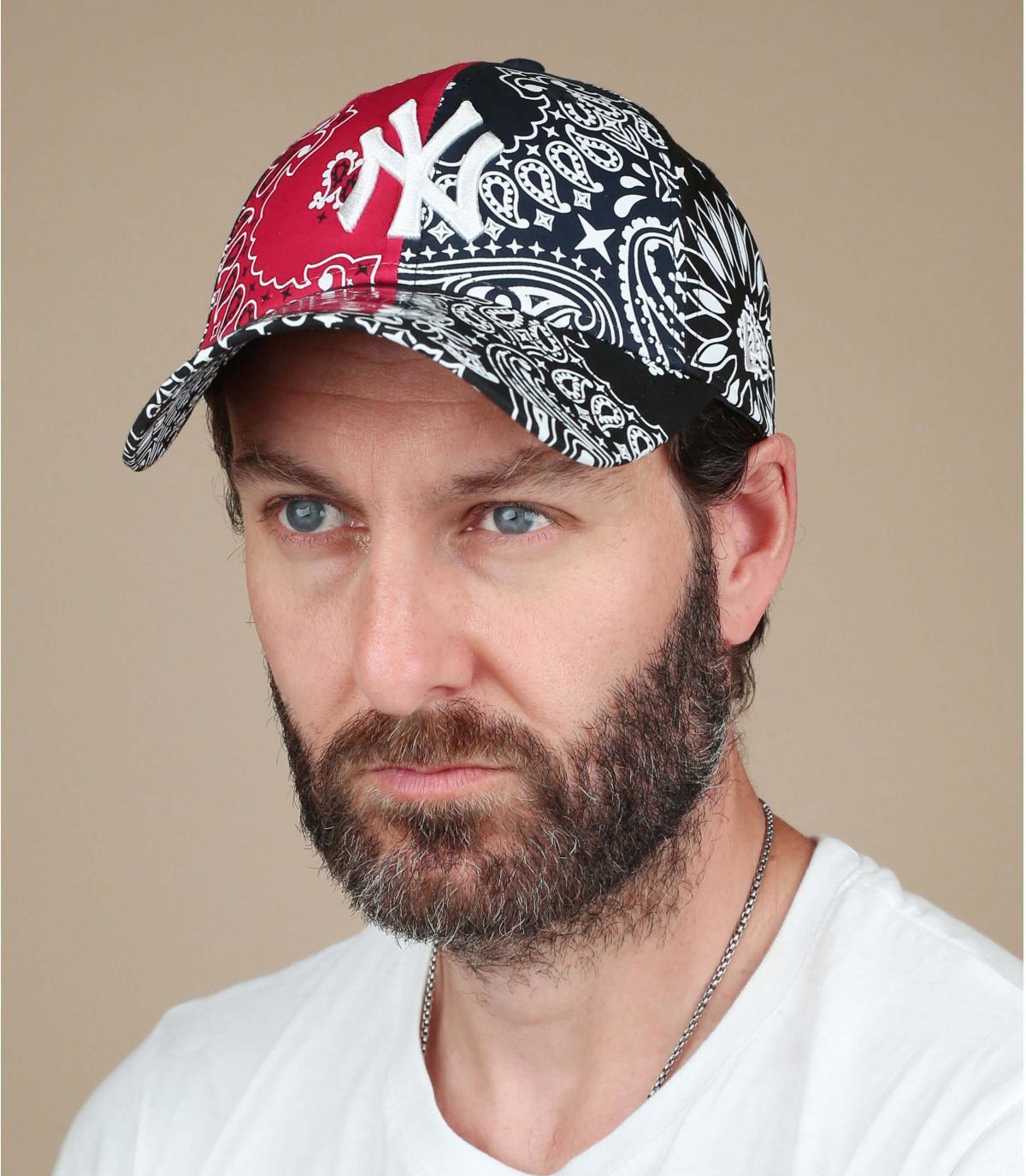 casquette NY bandana noir rouge