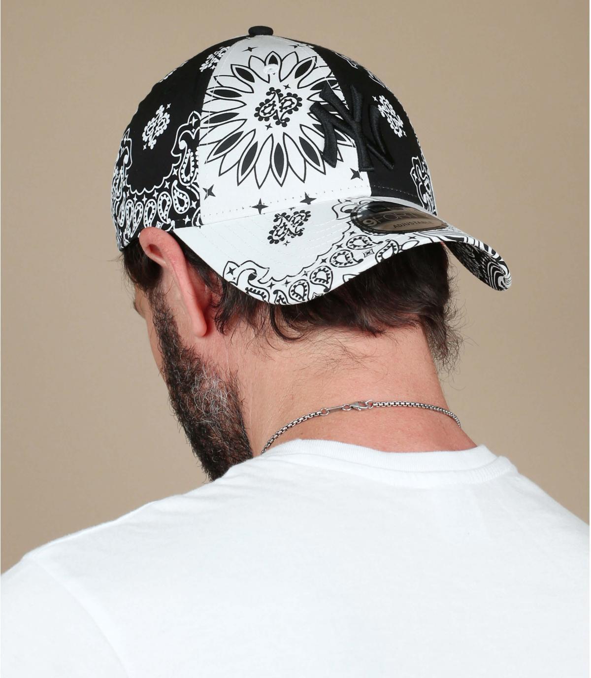 casquette NY bandana noir blanc