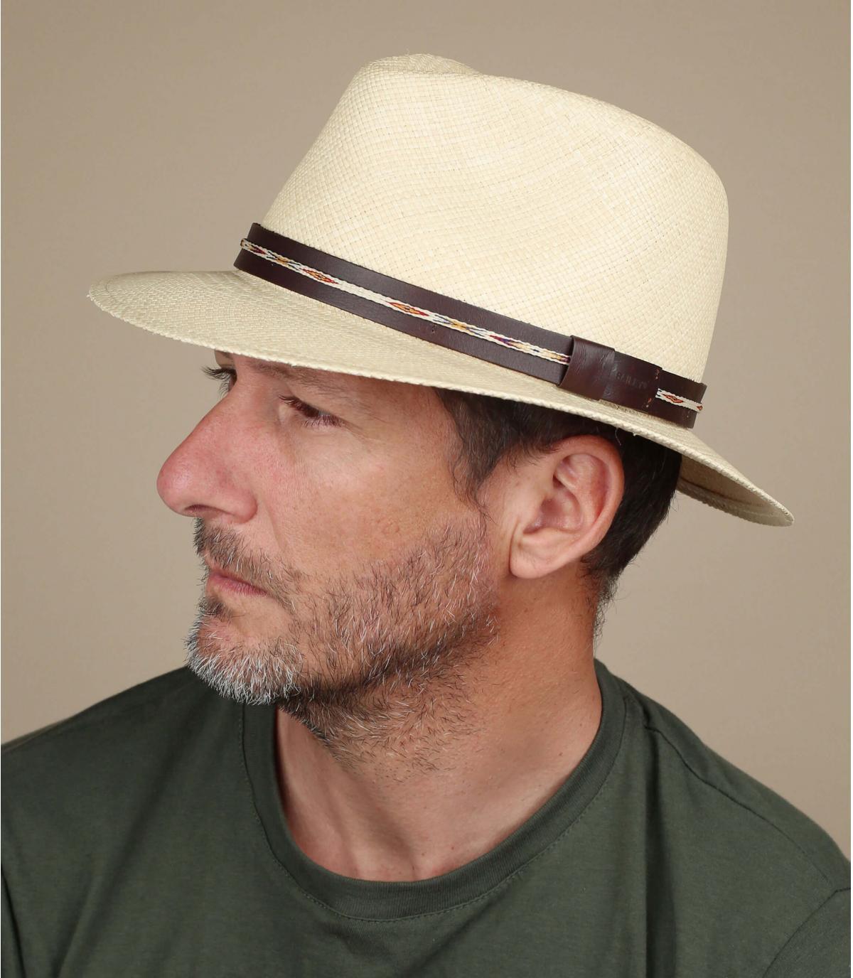 chapeau paille lien cuir Bailey