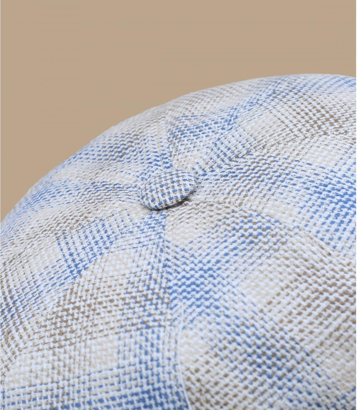 béret gavroche carreaux beige bleu
