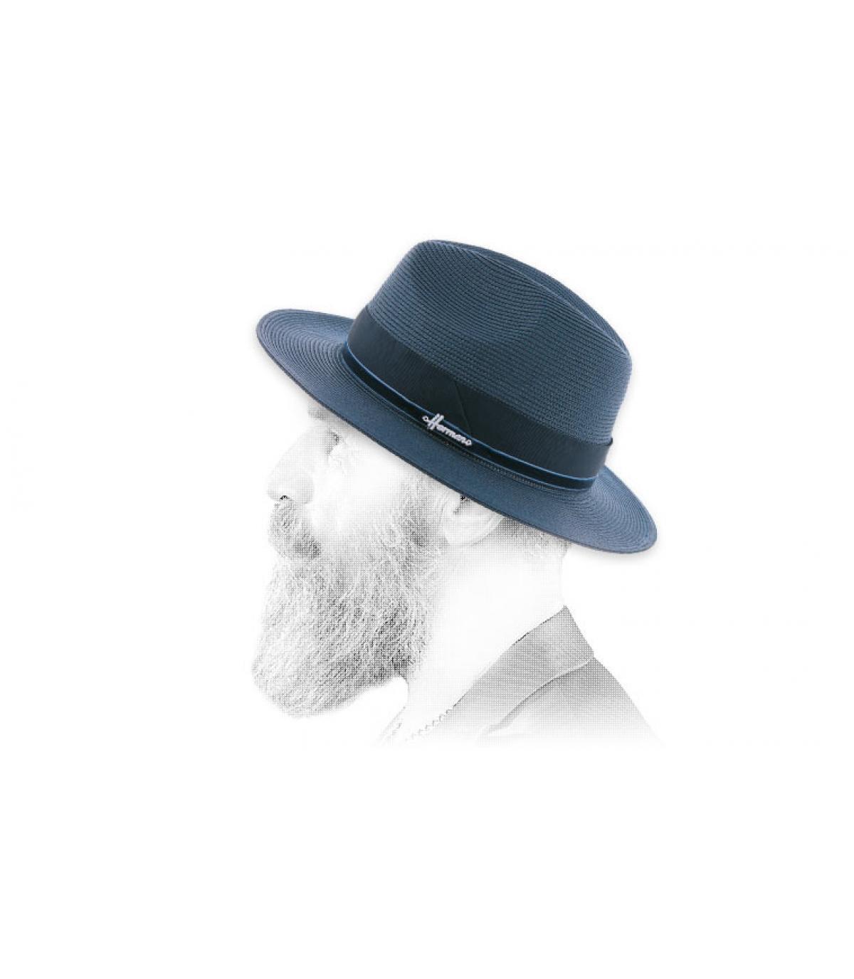 chapeau paille déperlant bleu marine
