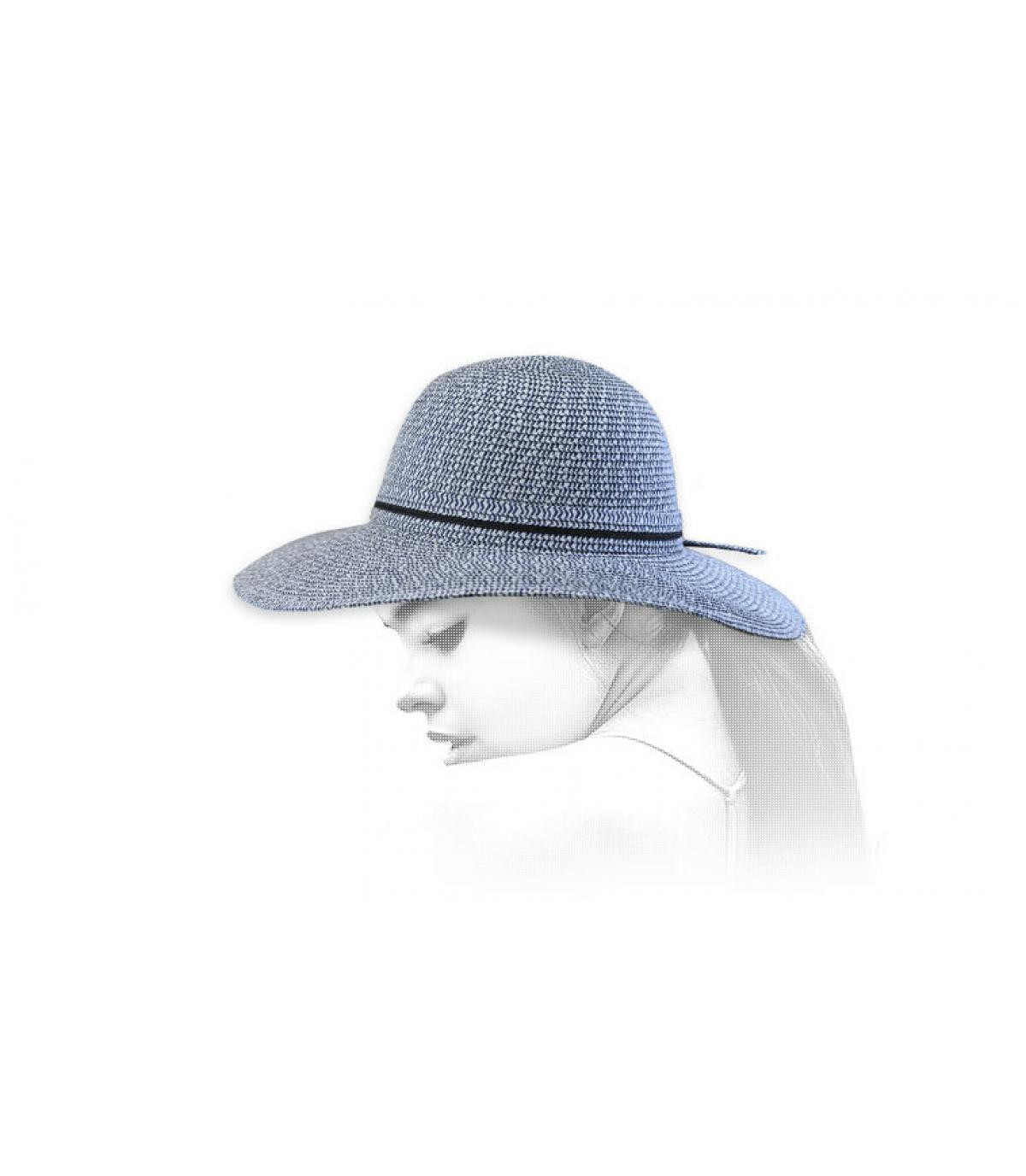 capeline paille bleu