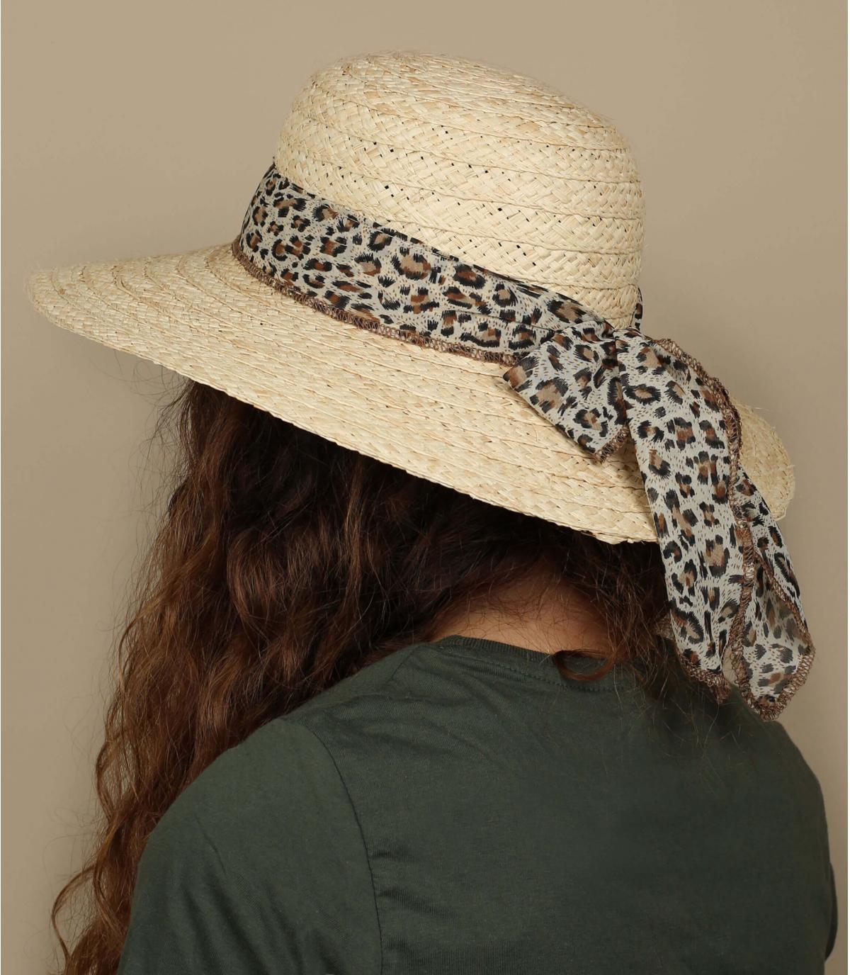 capeline paille foulard