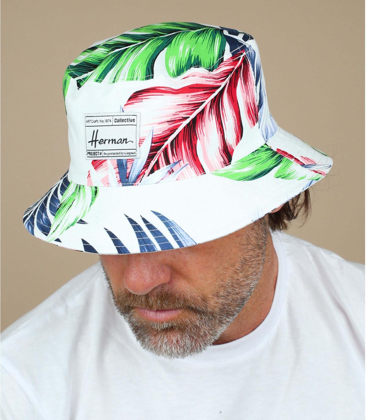 bob blanc imprimé végétal