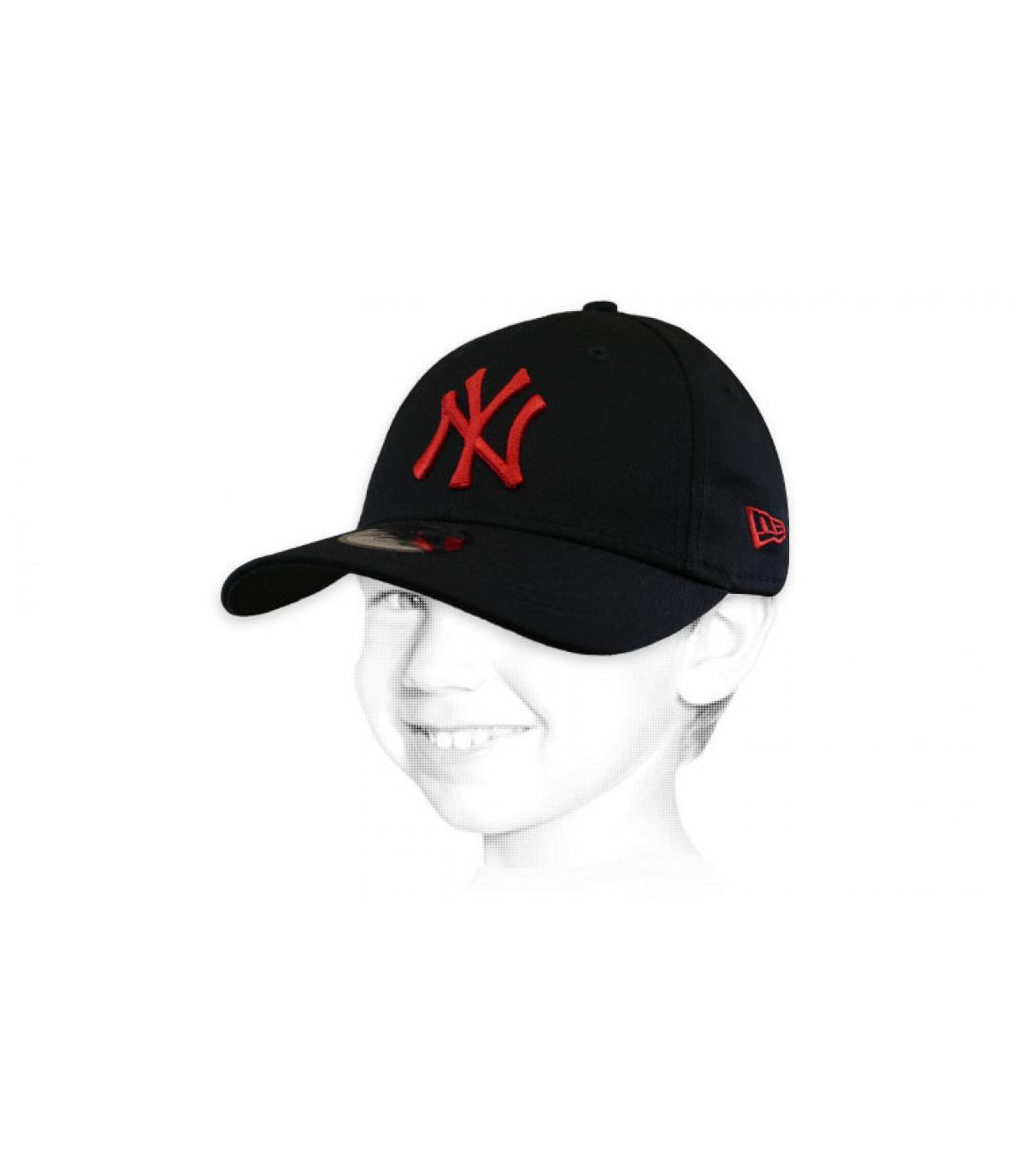 casquette enfant NY noir rouge