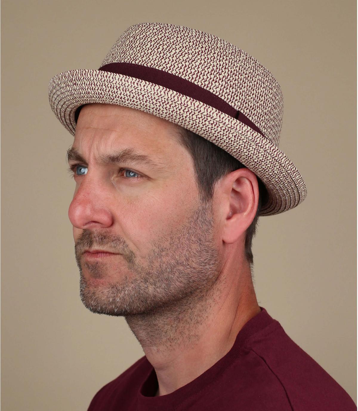 chapeau paille galon bordeaux