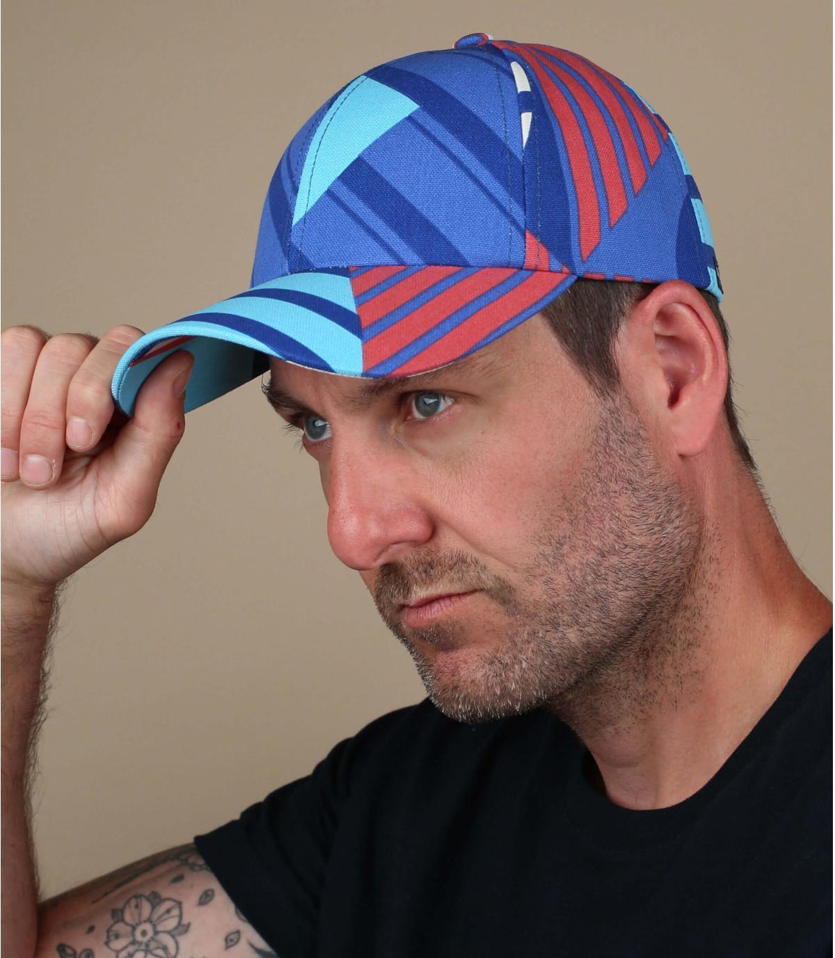casquette rayures bleu
