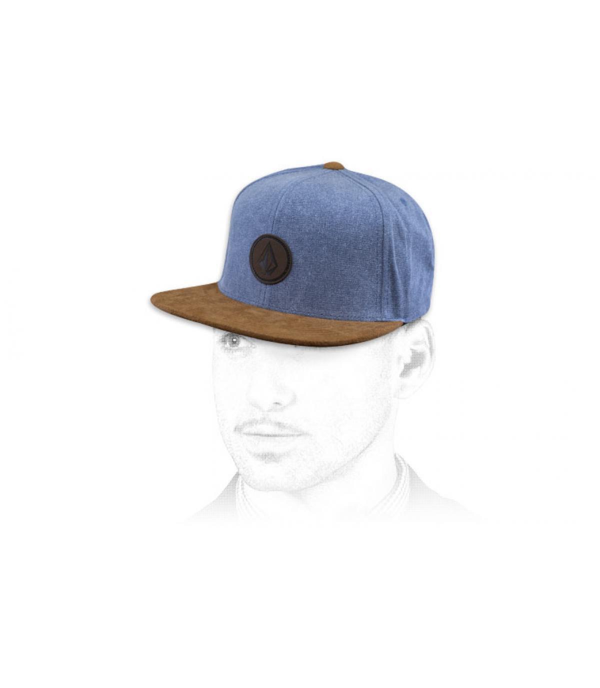 snapback Volcom bleu gris suède