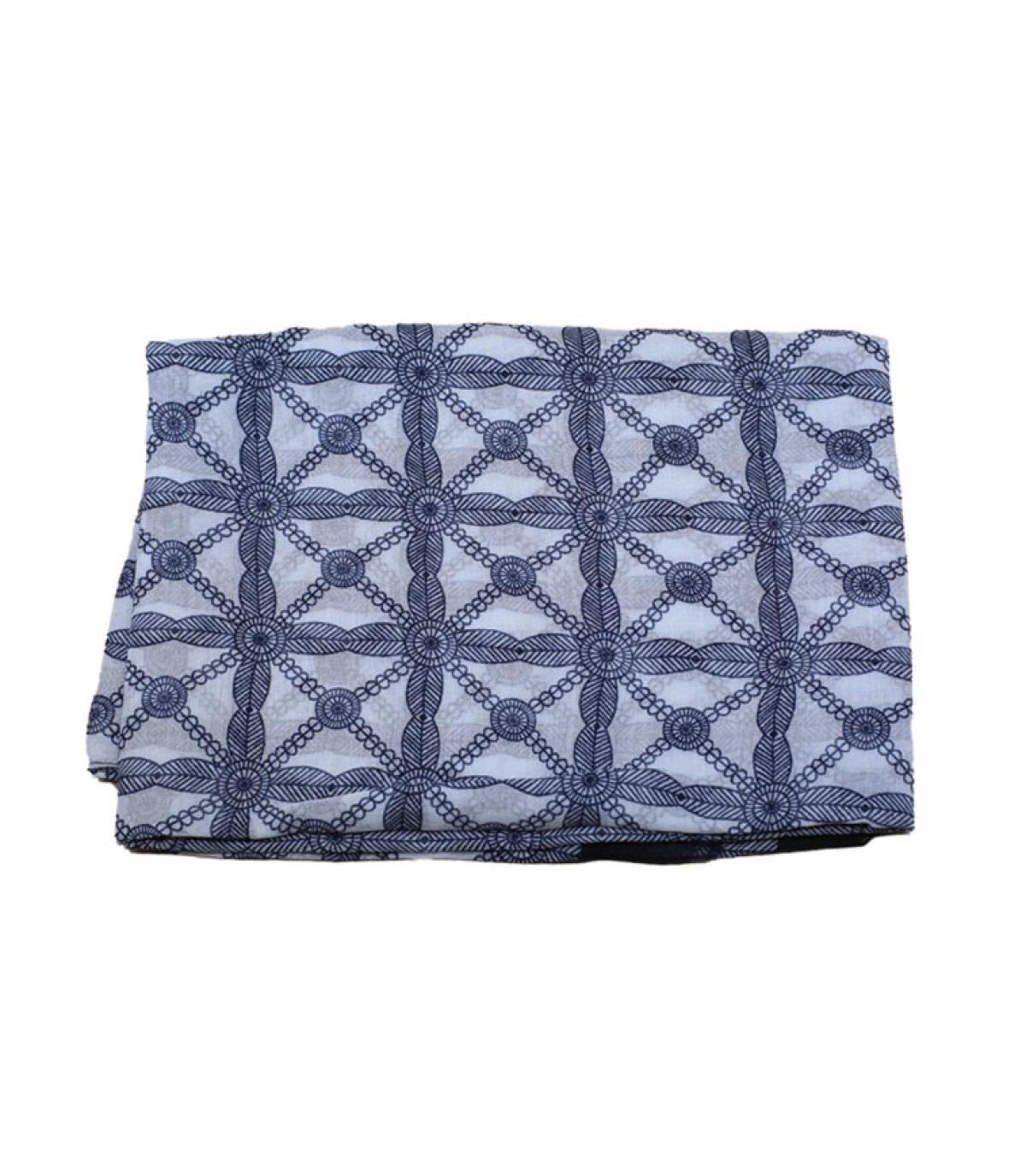 foulard bleu blanc motif