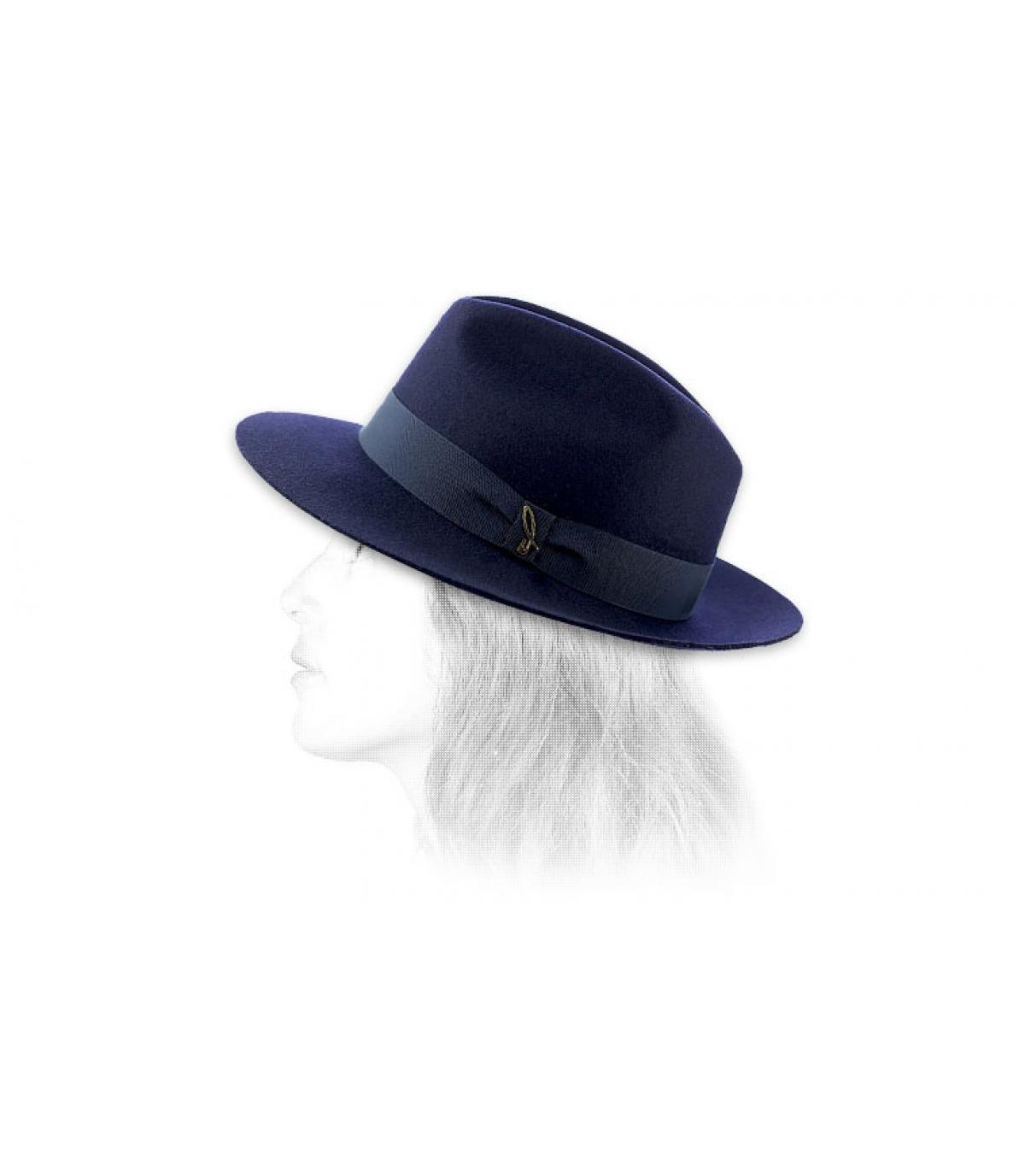 Détails Chapeau femme feutre laine marine - image 6