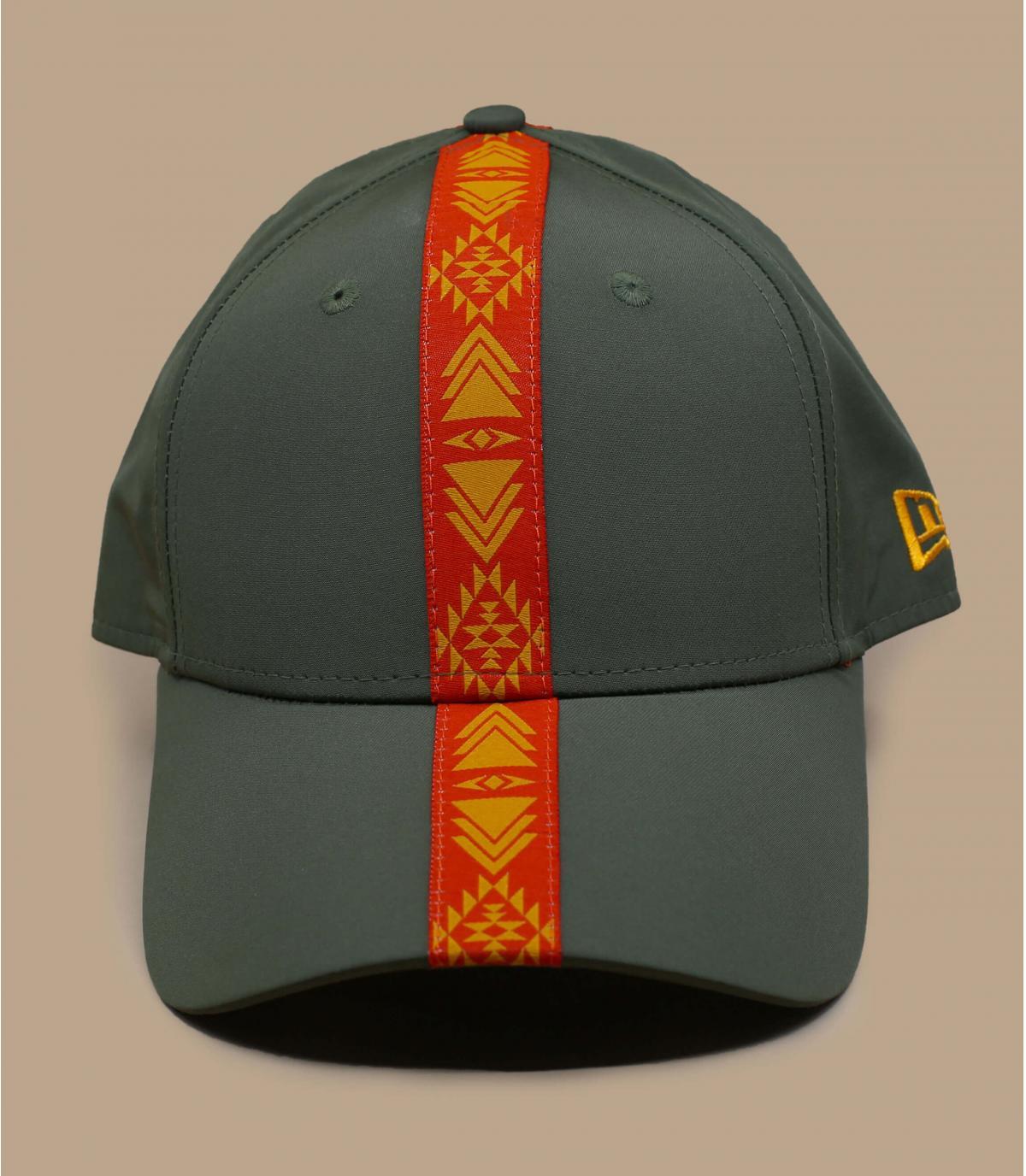 casquette vert ruban orange