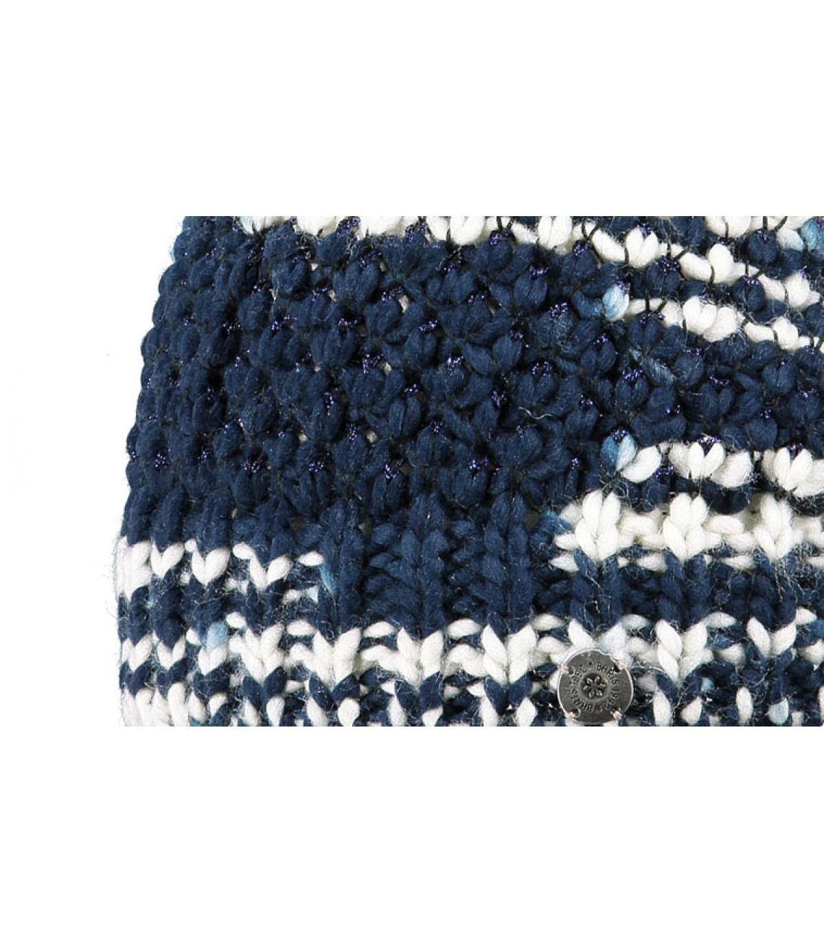 Bonnet pompon femme bleu
