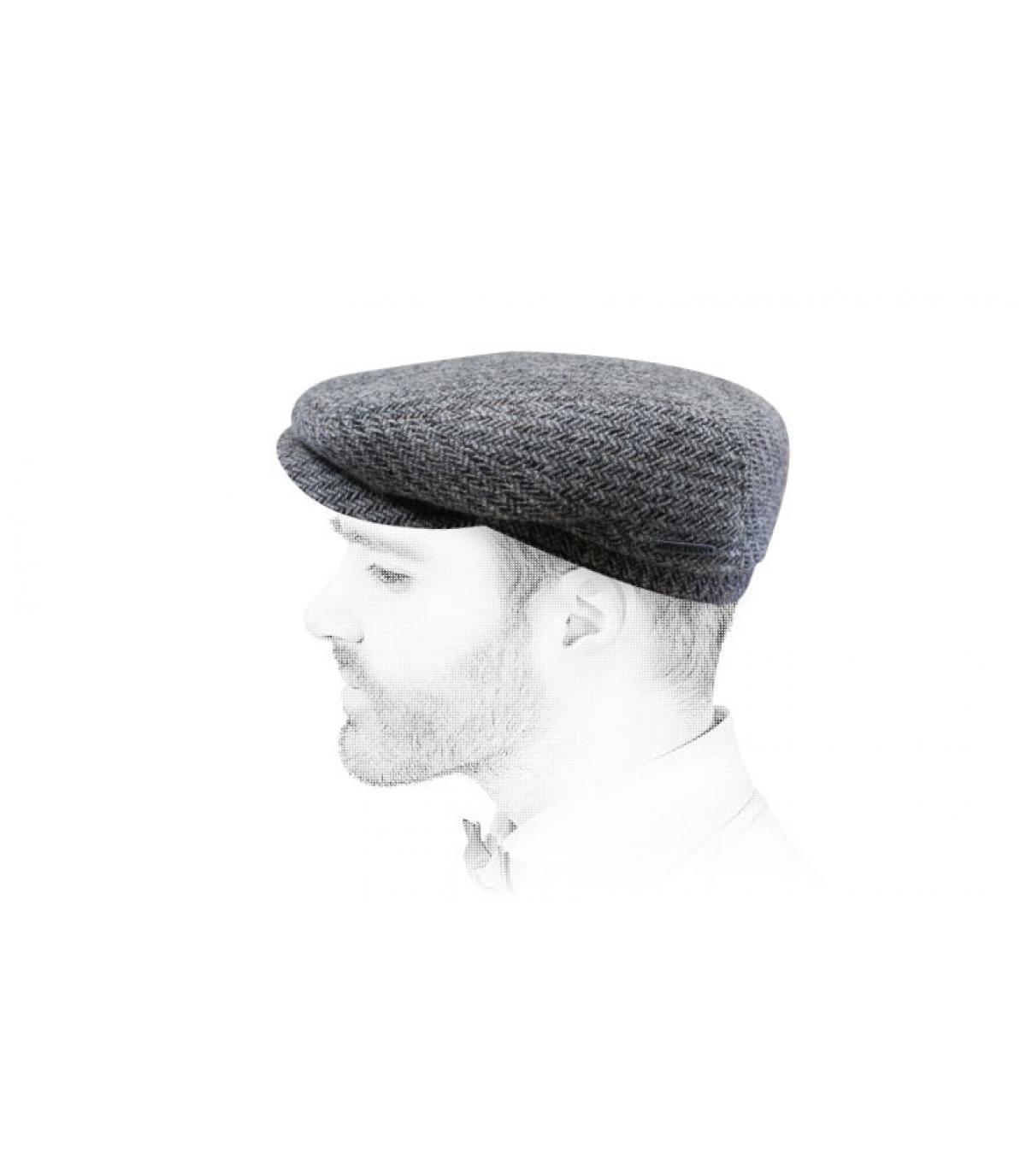 béret gris laine chevrons