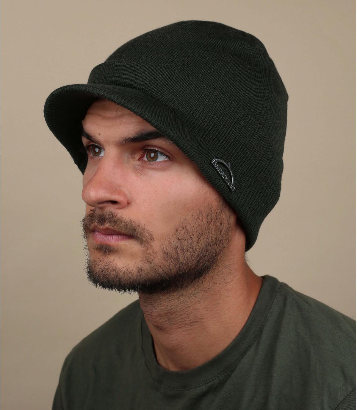 bonnet visière vert laine