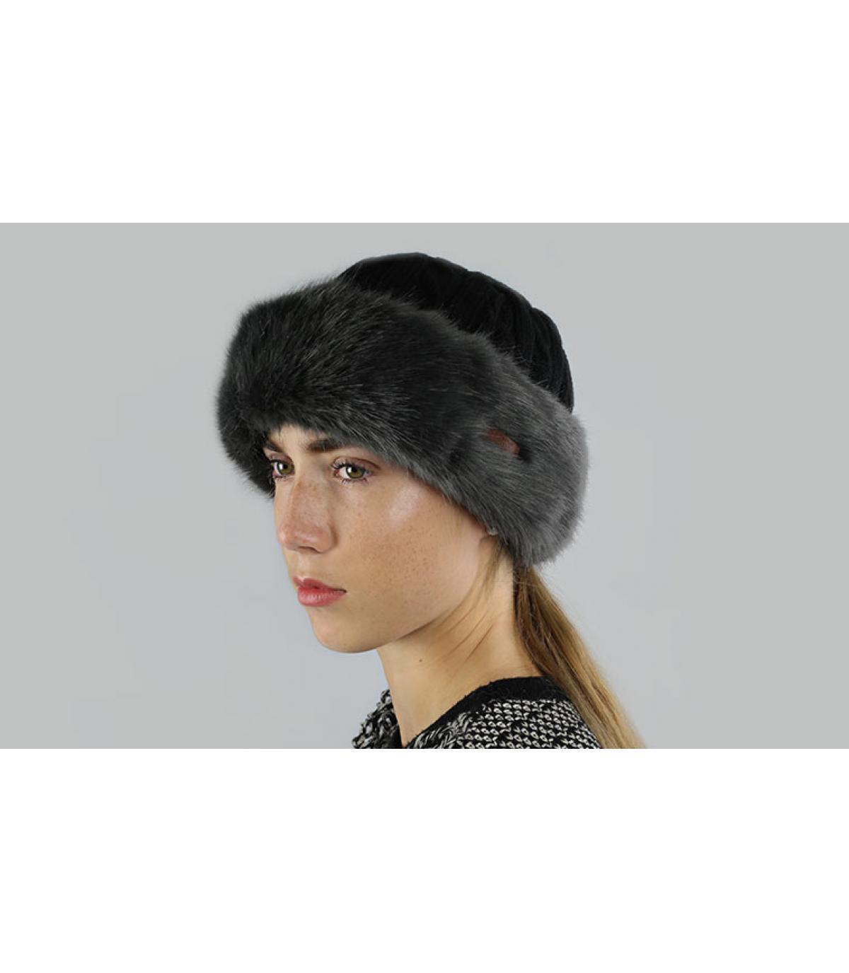 Bonnet bandeau fourrure gris