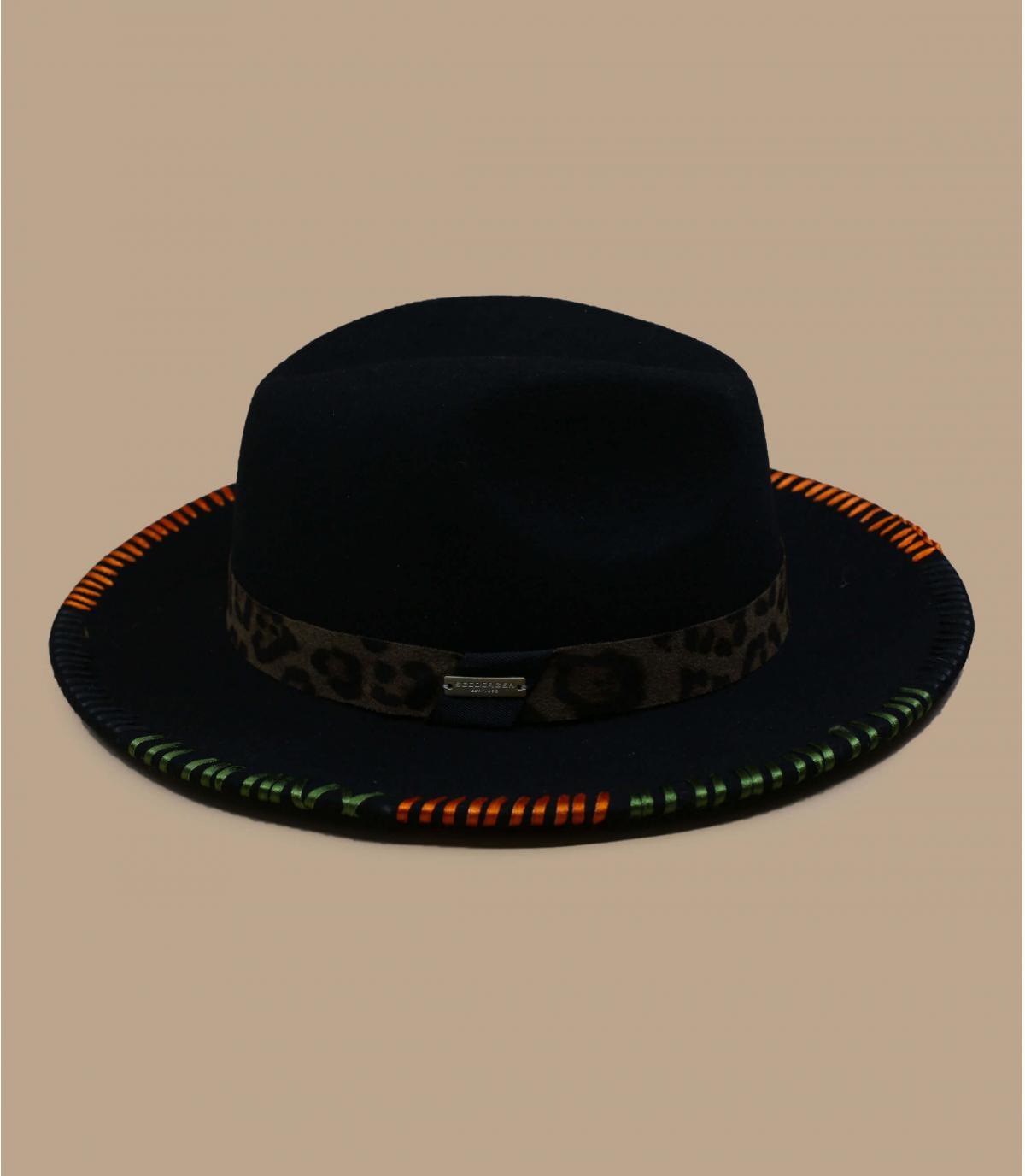 Chapeau feutre vert brodé