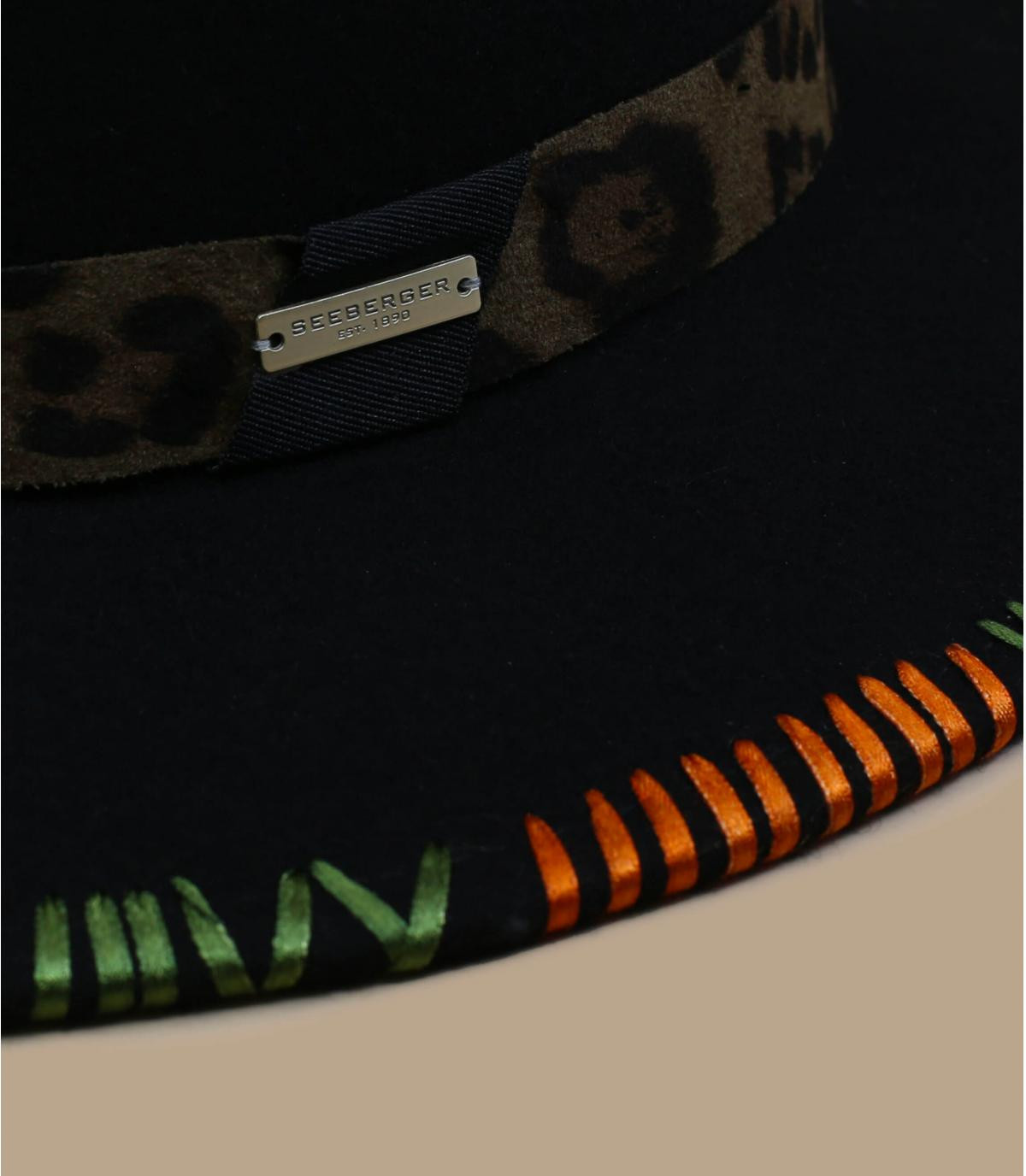 Détails Felt Fedora with embroidery khaki - image 2