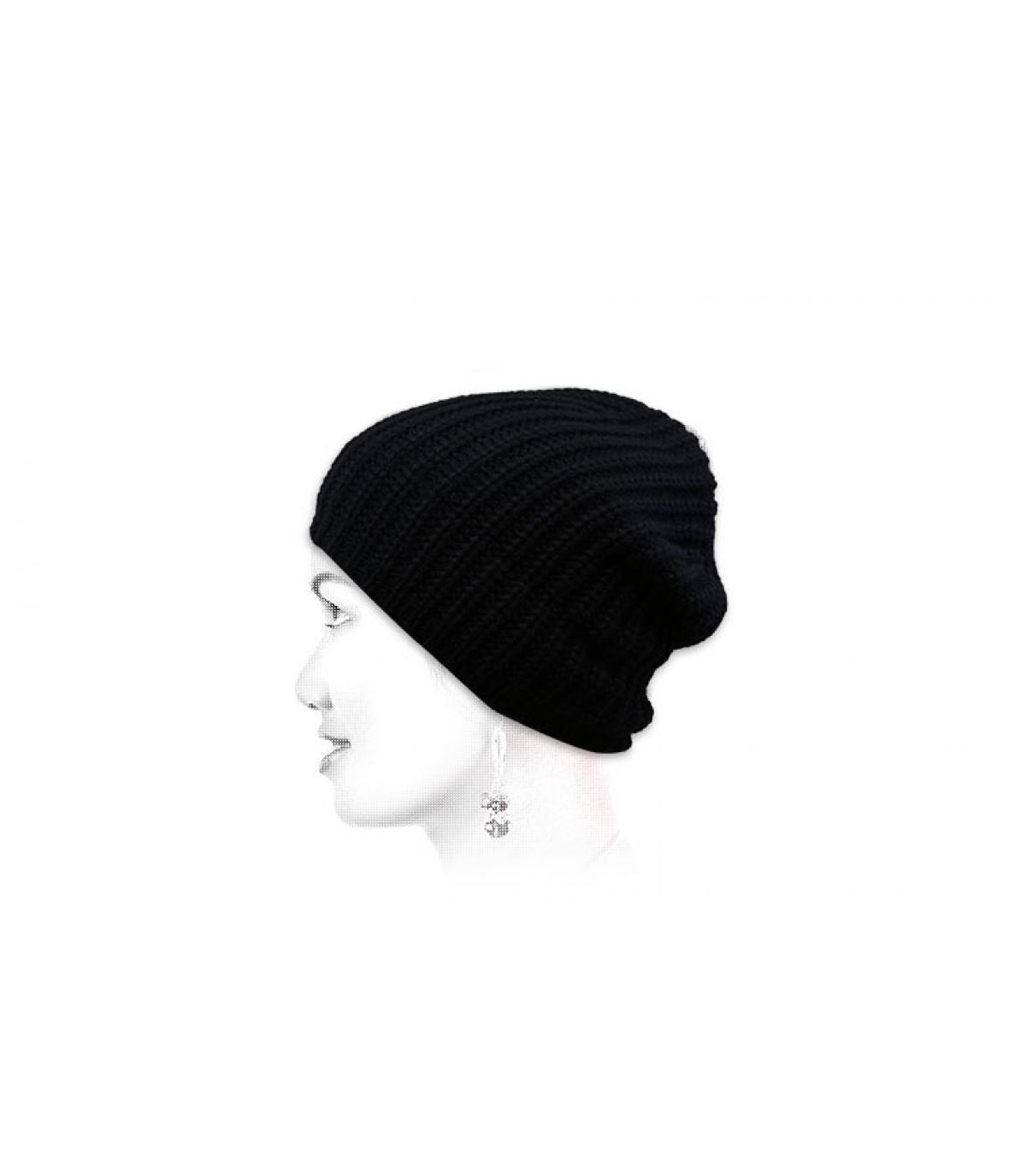 bonnet noir recyclé