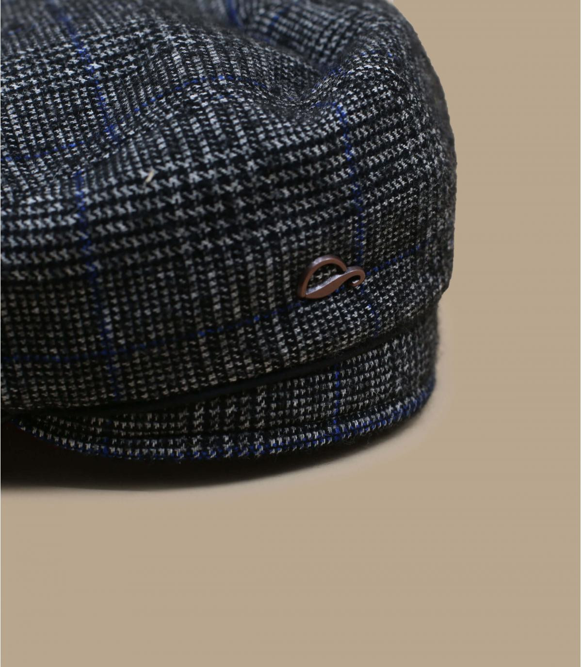 béret bleu carreaux laine