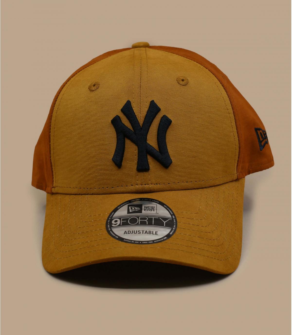 casquette NY beige brun