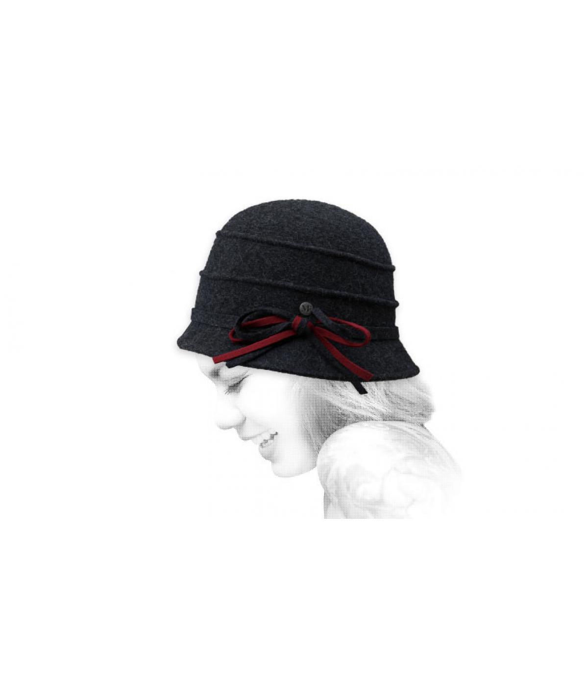 chapeau cloche gris