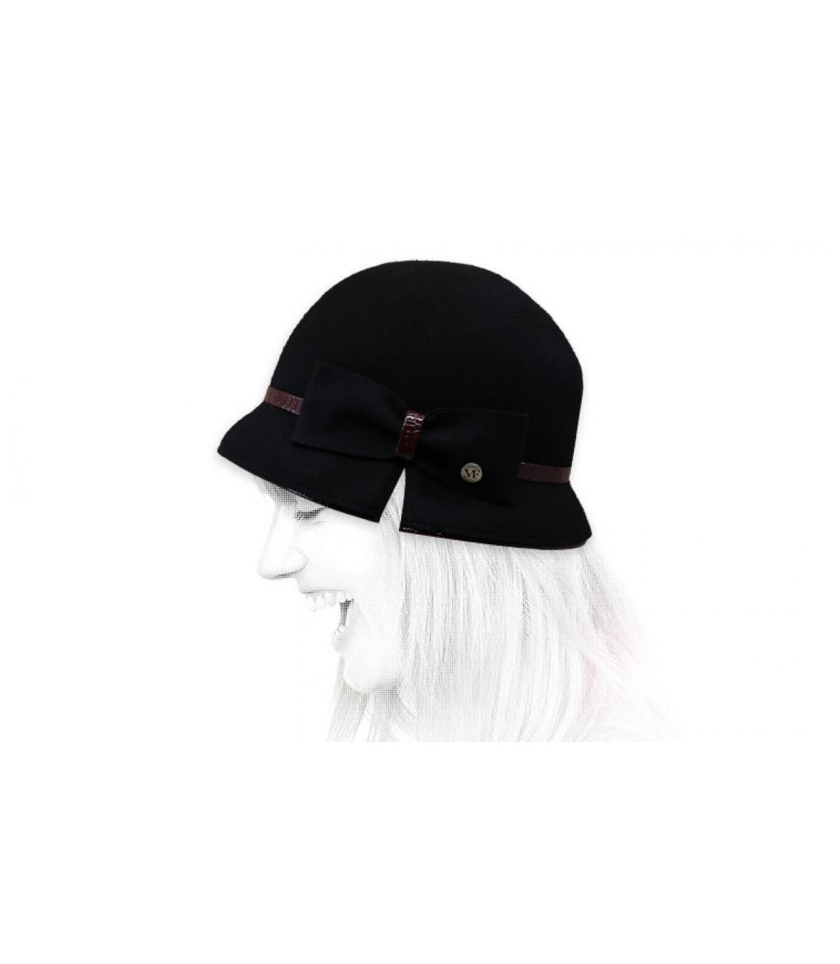 chapeau cloche noir nœud
