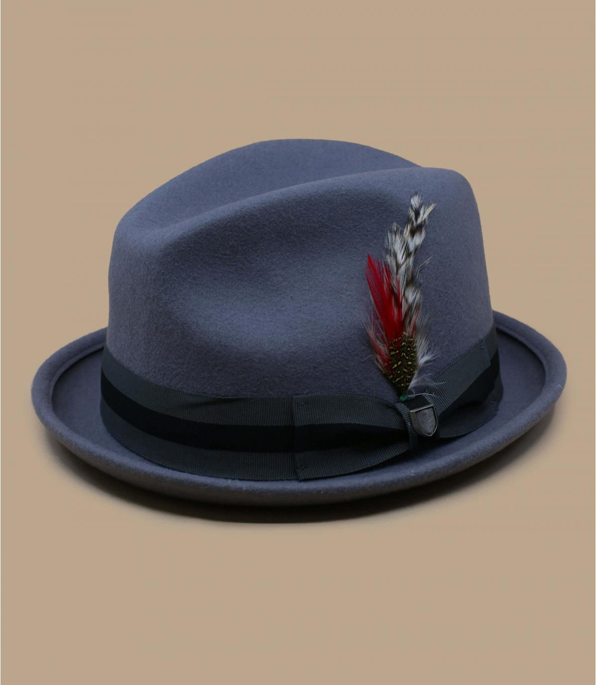 Chapeau gris ruban plume