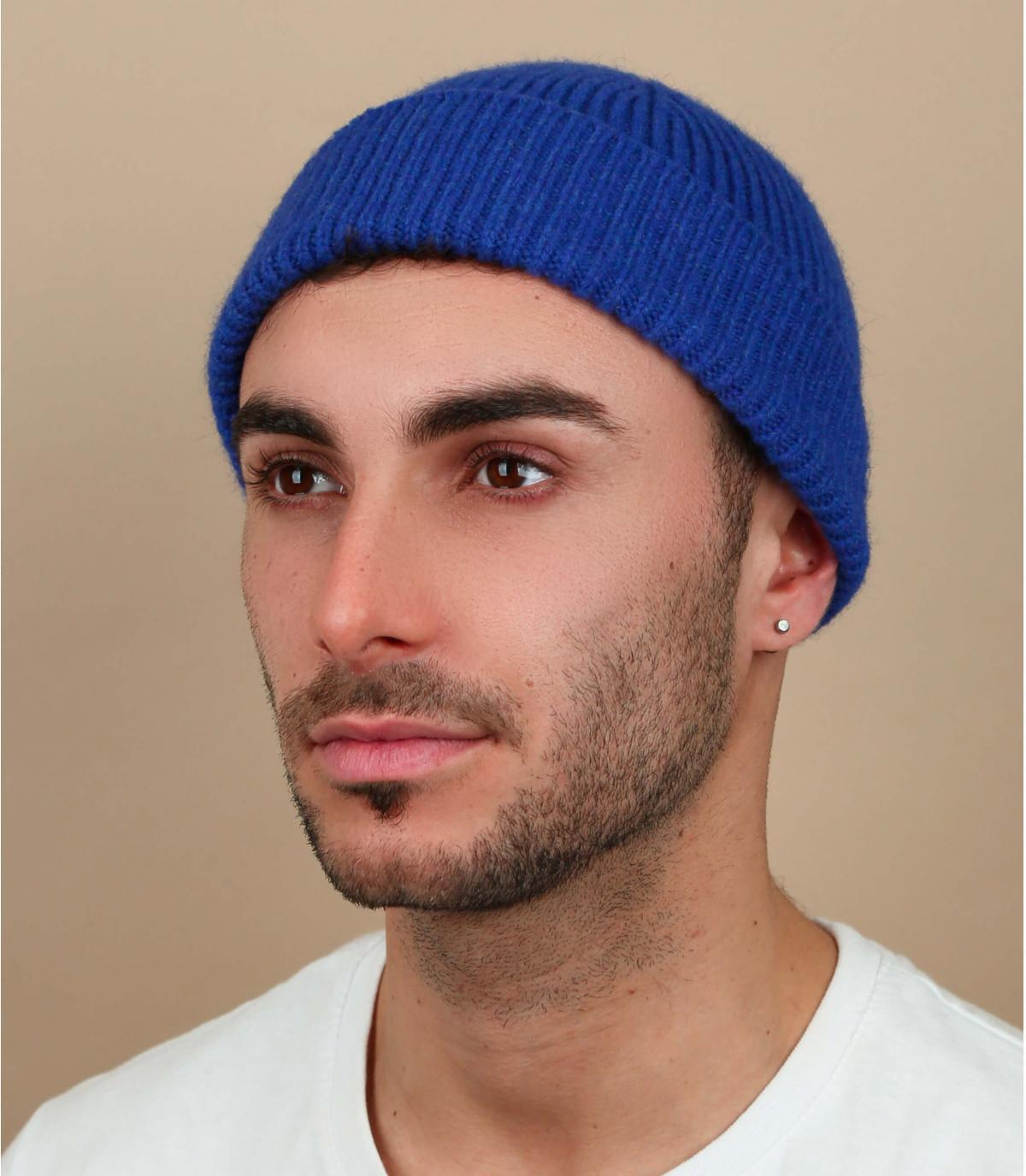 bonnet docker bleu laine angora