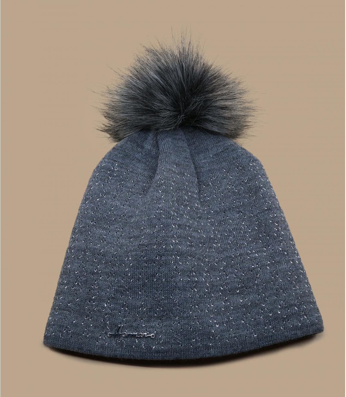 bonnet pompon gris scintillant