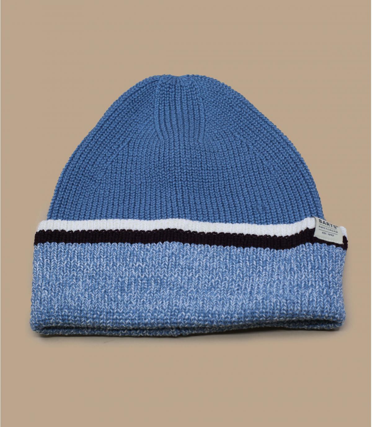 bonnet revers bleu rayures