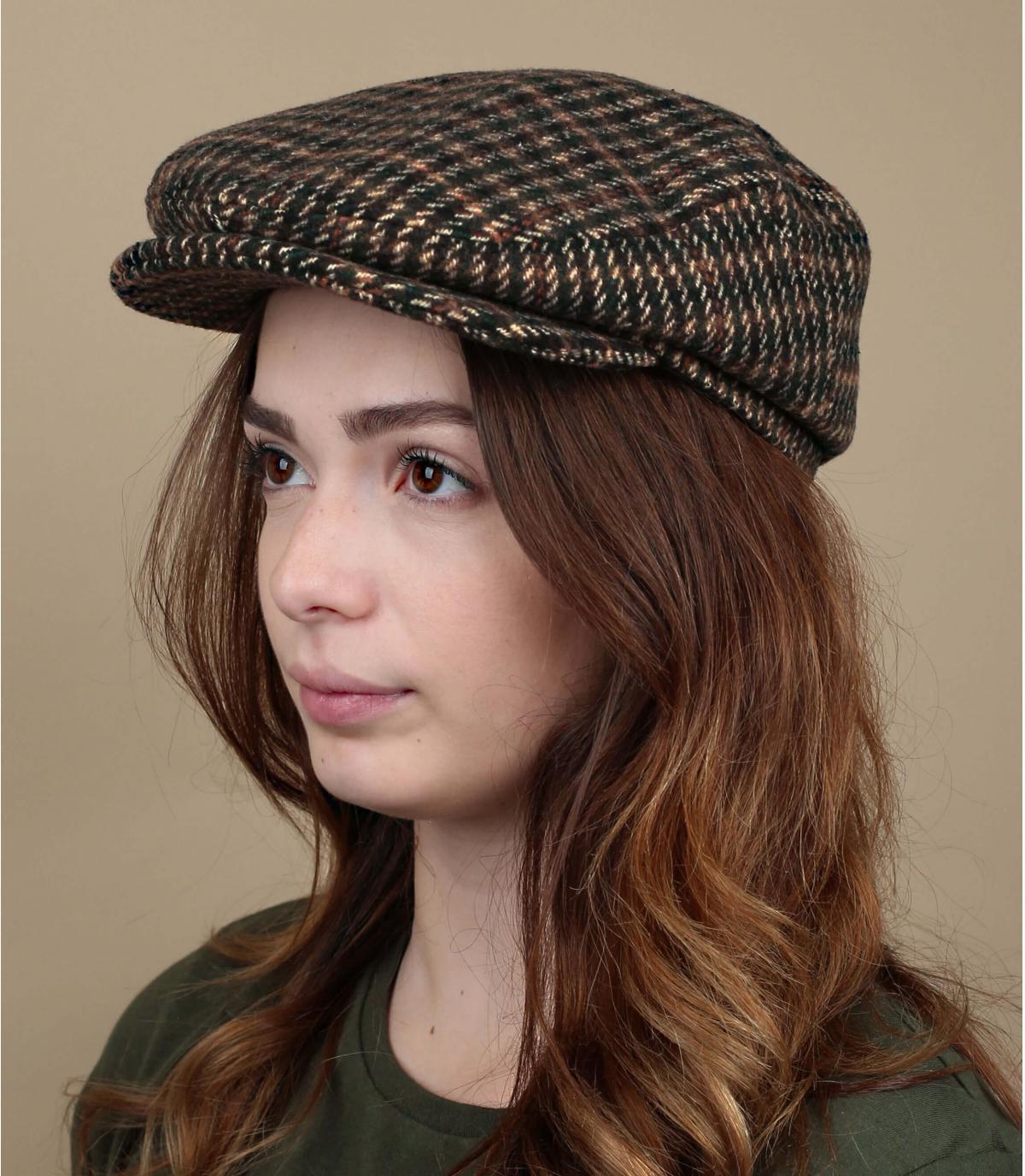 béret laine carreaux femme