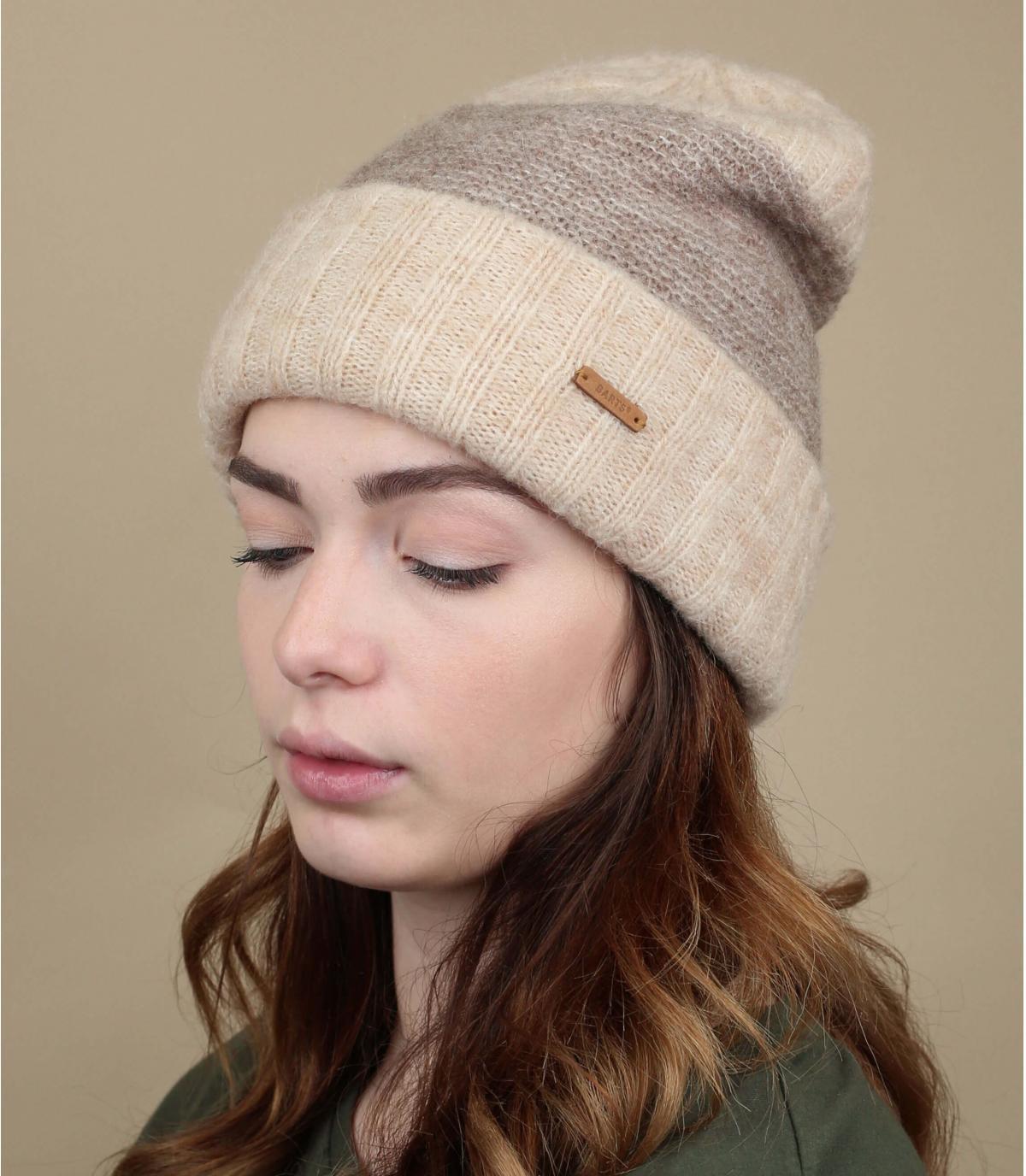 bonnet revers laine beige