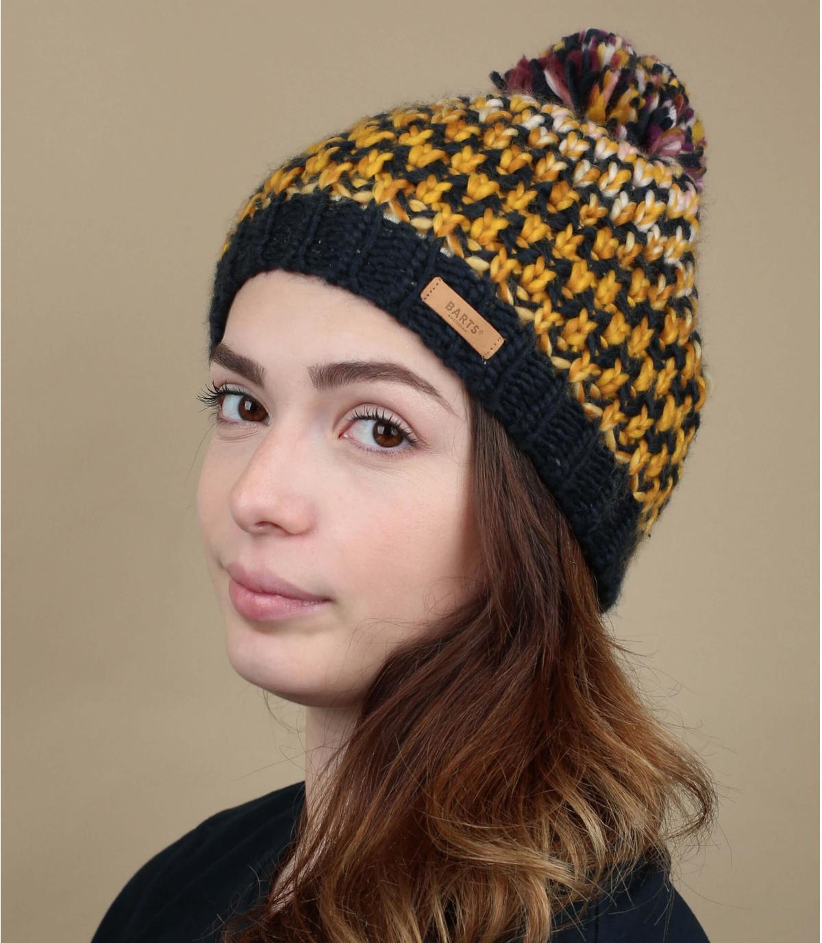 bonnet multicolore pompon