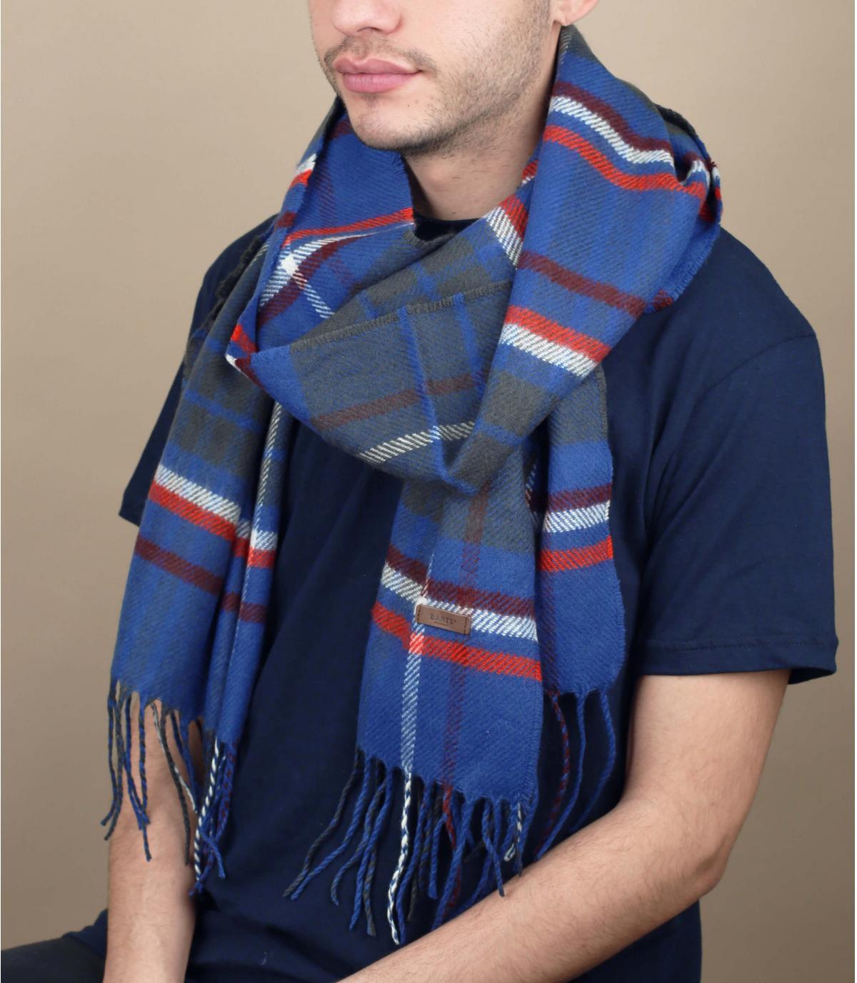écharpe bleu carreaux franges