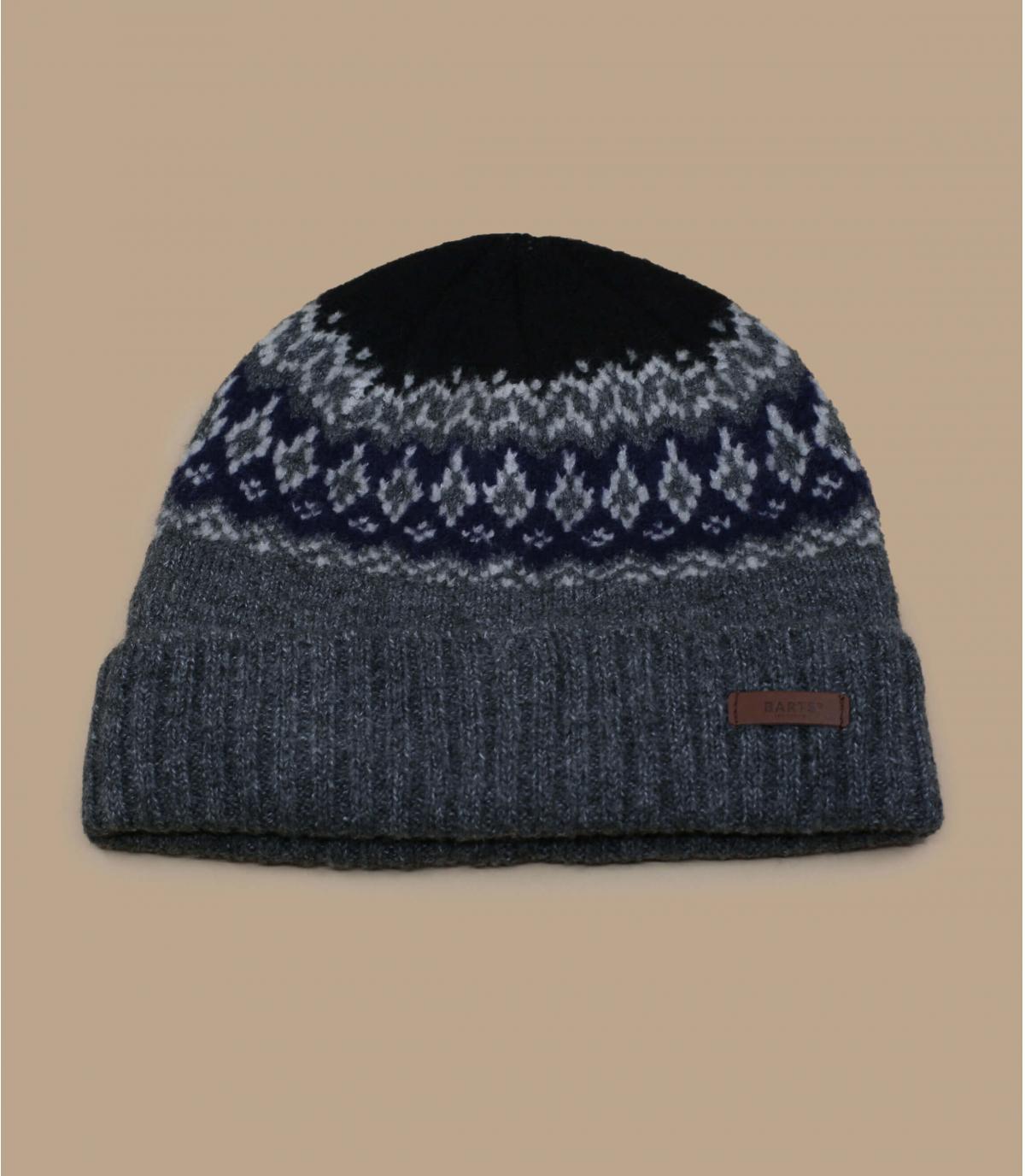 bonnet motif doublé gris
