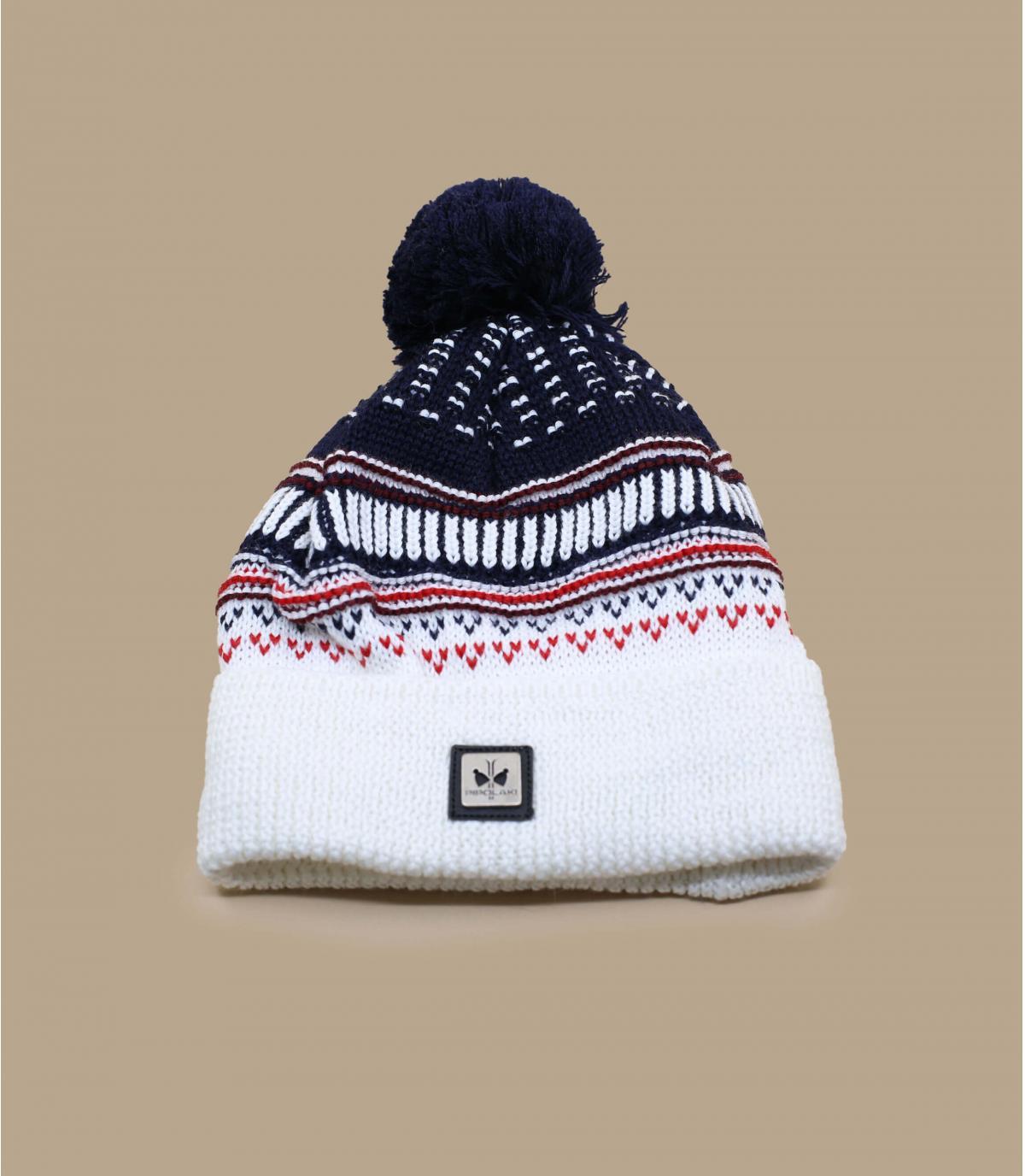 bonnet pompon blanc bleu