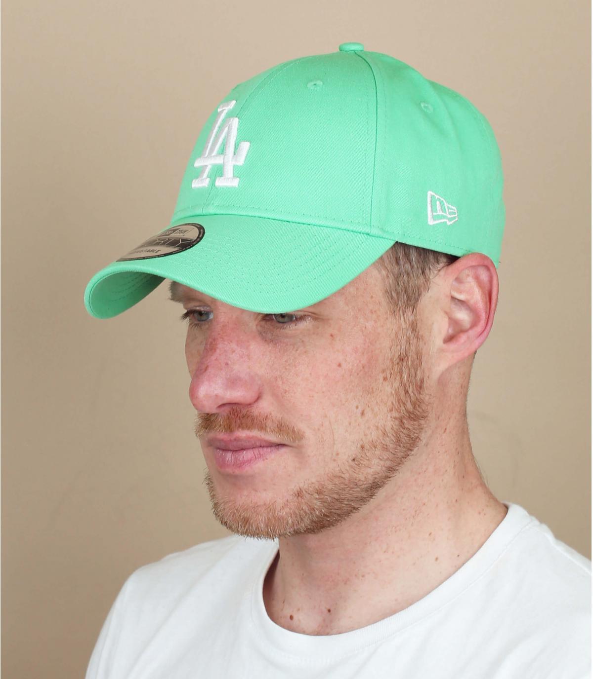 casquette LA bleu vert