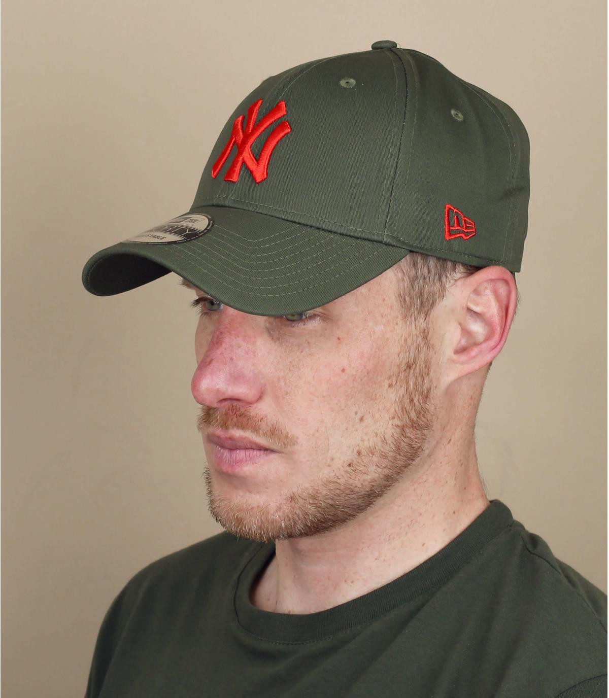casquette NY vert rouge