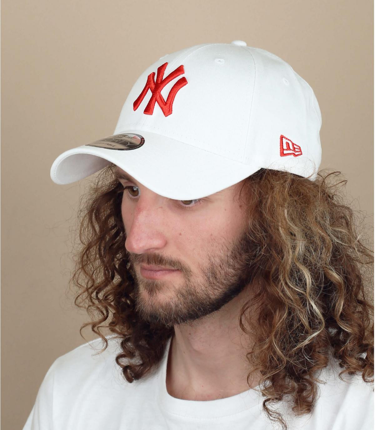 casquette NY blanc rouge