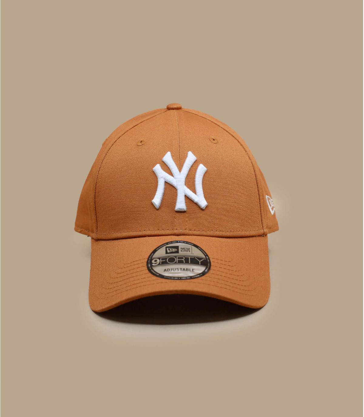 casquette NY beige blanc