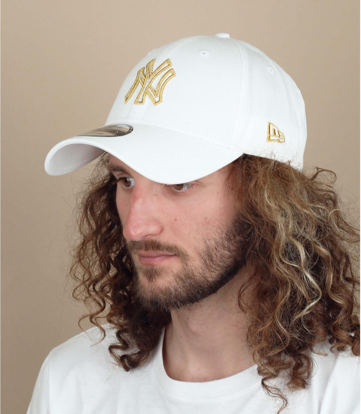 casquette NY blanc argent