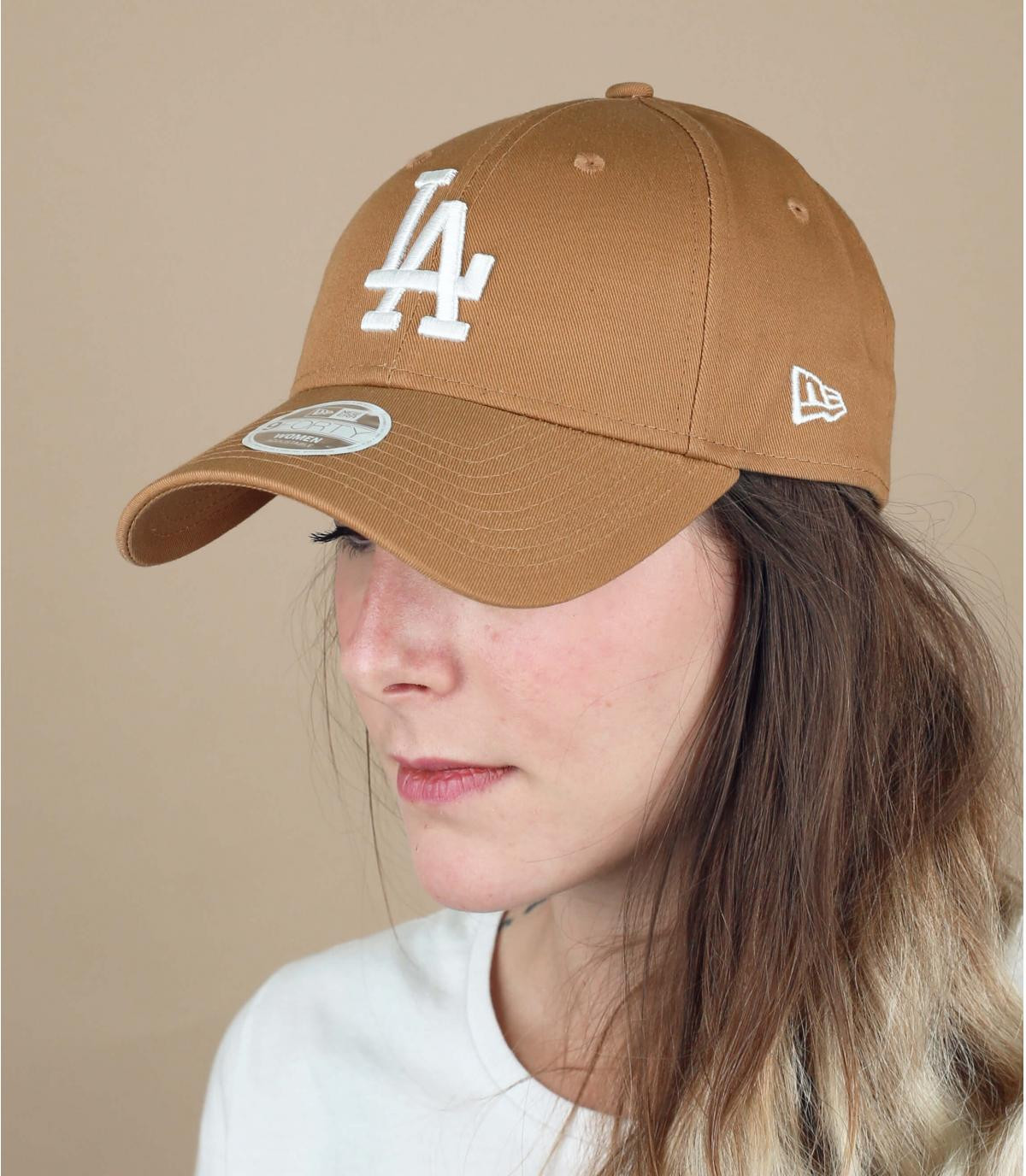 casquette LA femme beige