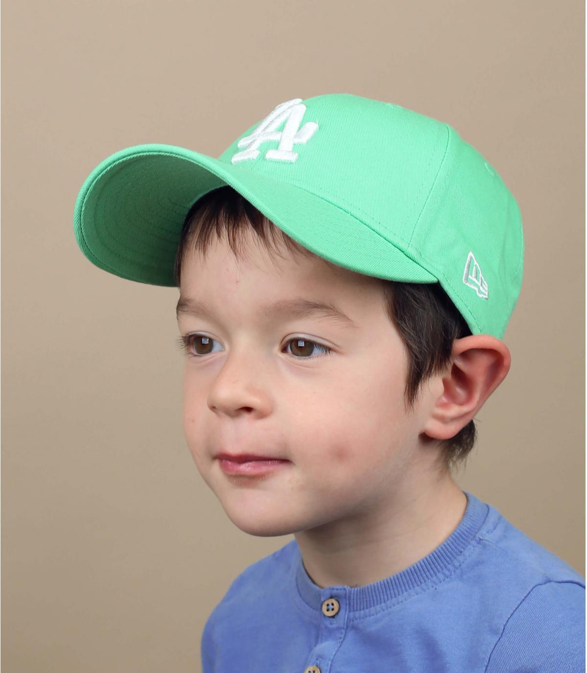 casquette LA enfant bleu vert