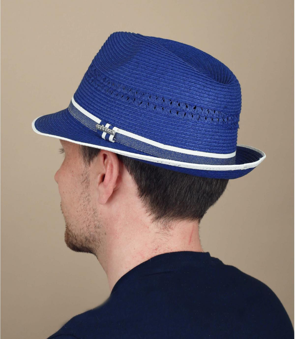 trilby paille bleu Stetson