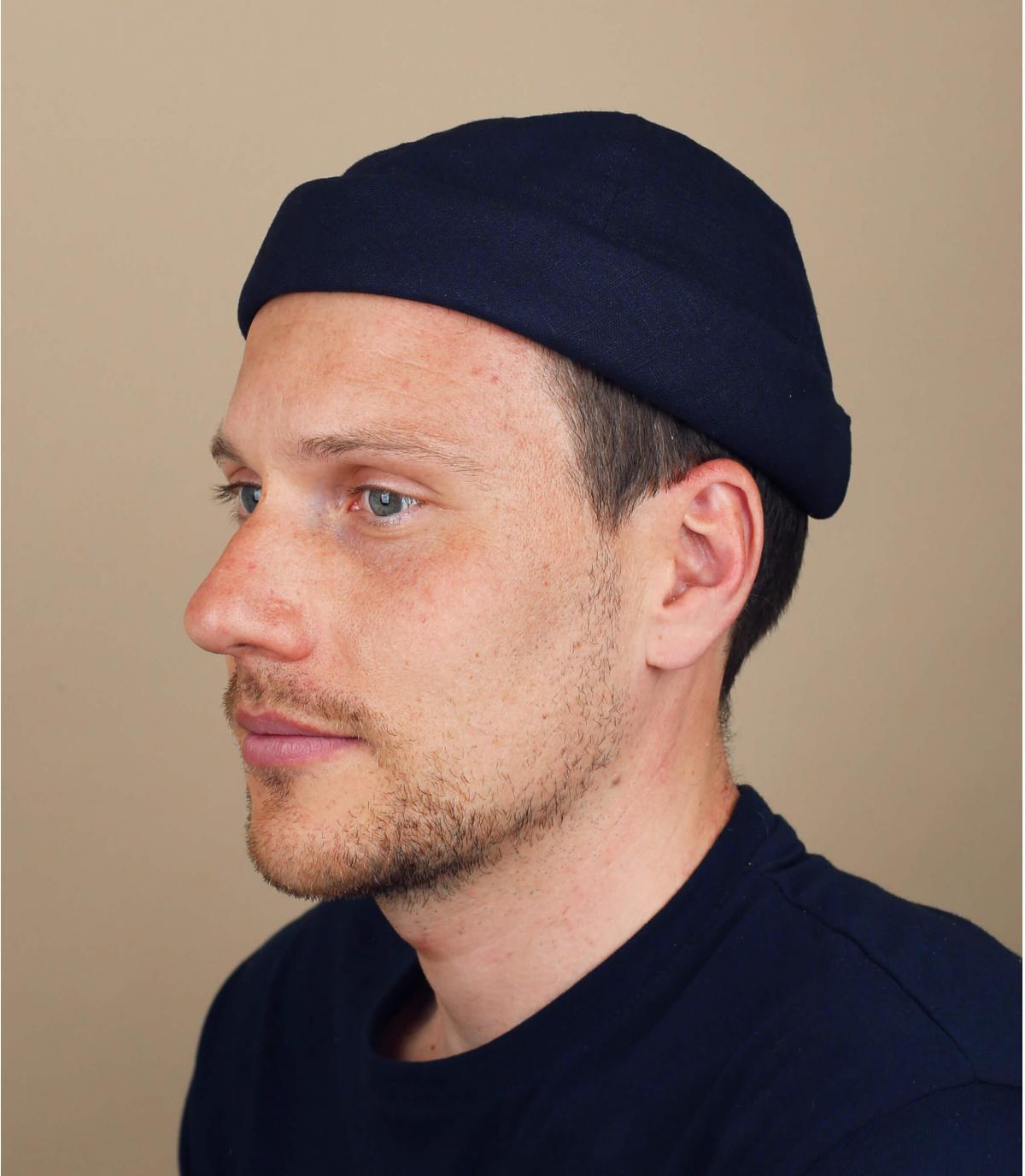 bonnet docker lin bleu marine
