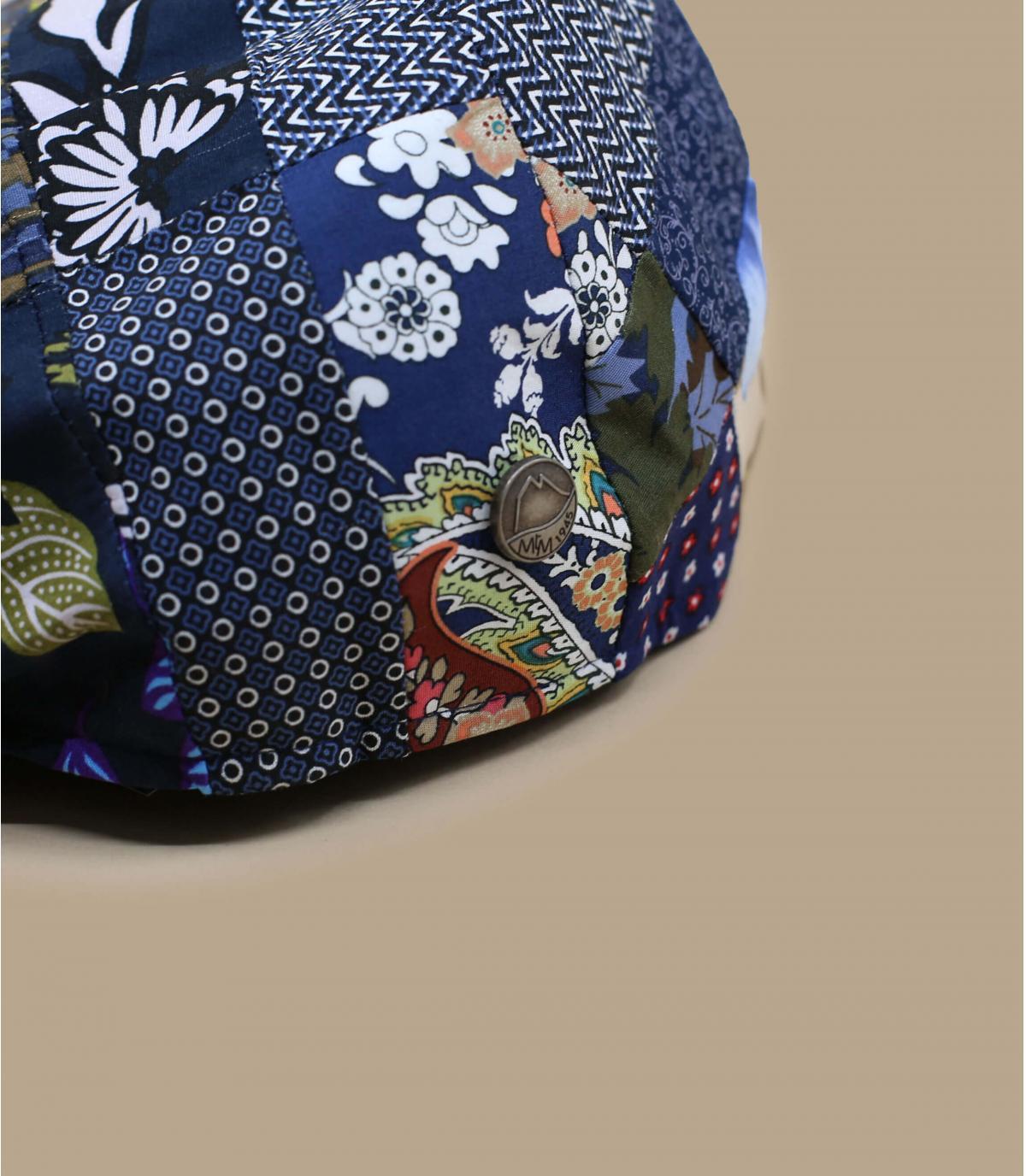 béret lin patchwork bleu