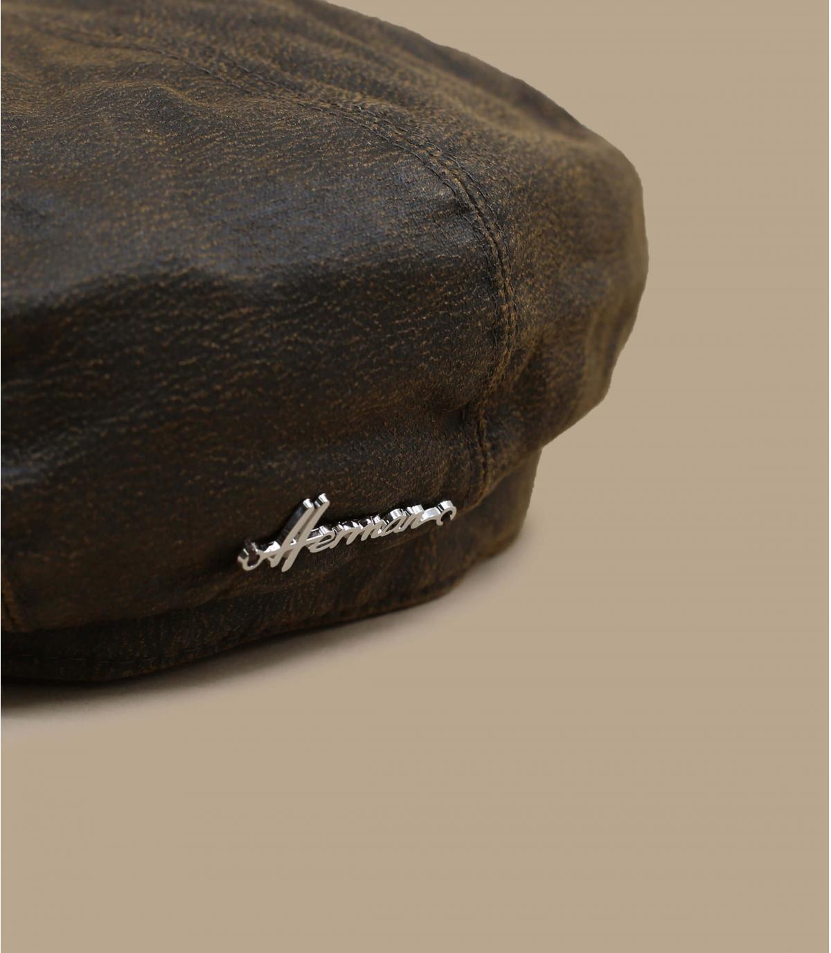 béret gavroche brun coton enduit