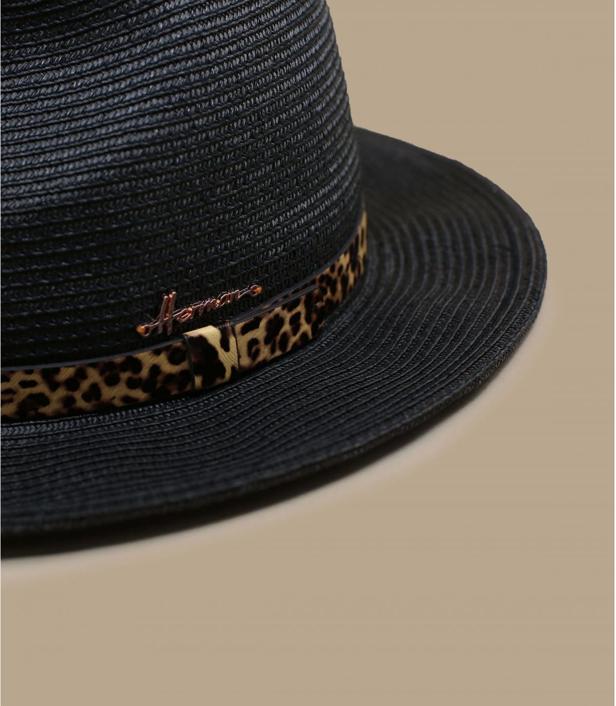 chapeau paille noir panthère