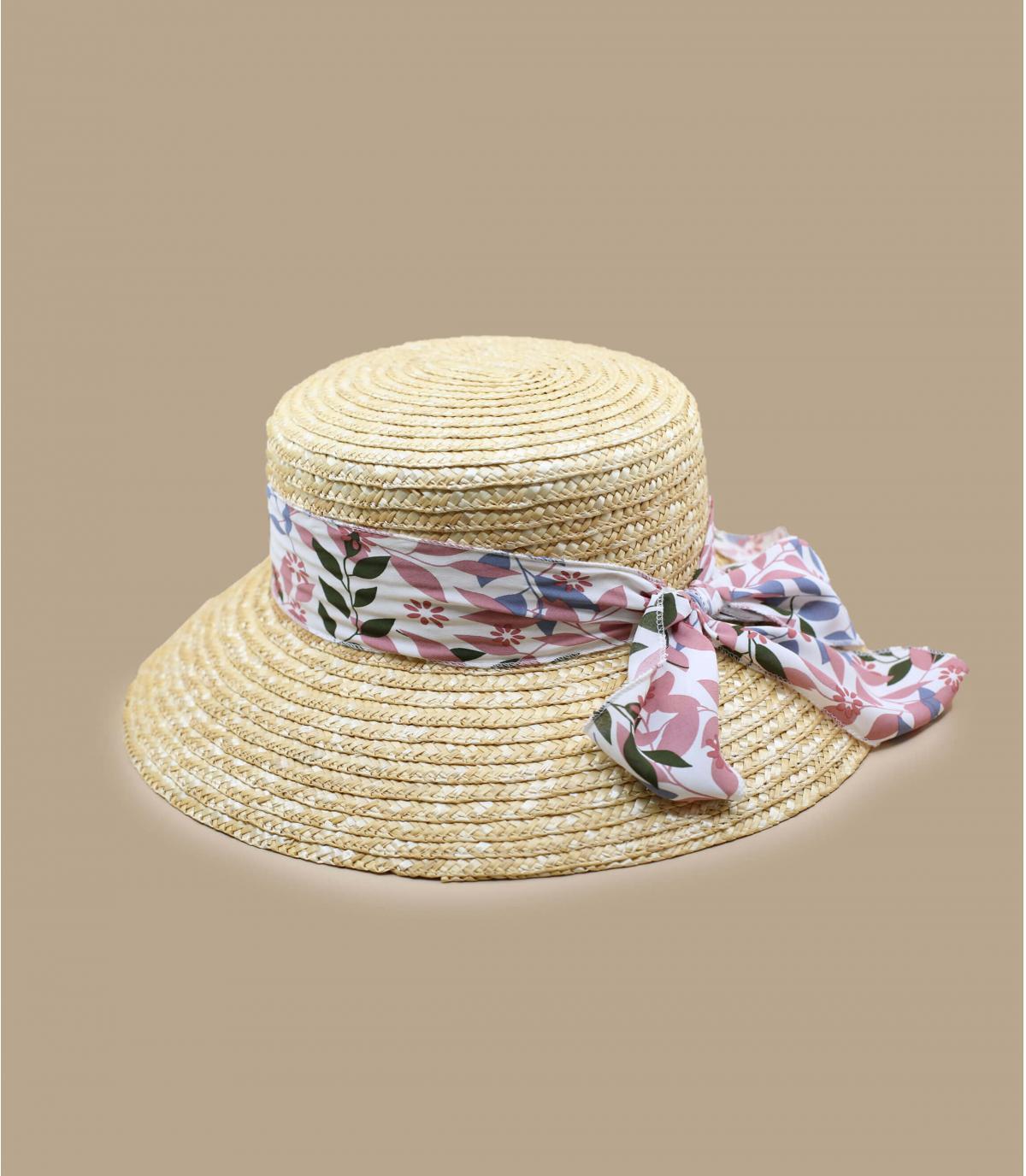 chapeau paille foulard rose